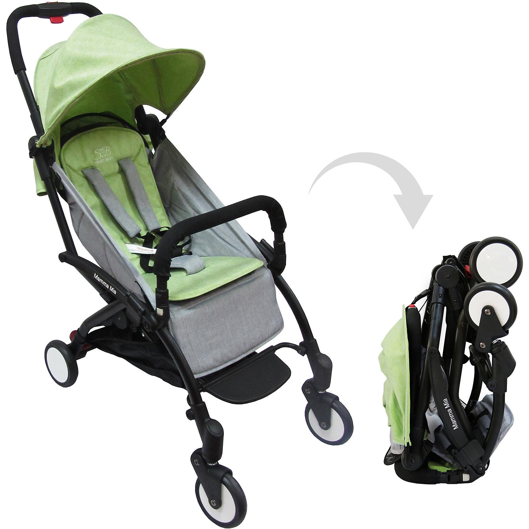 Прогулочная коляска Sweet Baby Mamma Mia Linen Miami, зеленаяПрогулочные коляски<br>Характеристики товара:<br><br>• цвет: Linen Miami, зеленый<br>• алюминиевая рама.<br>• регулируемая ремешком спинка коляски, угол наклона 165 градусов<br>• на сиденье со спинкой находится съемный матрасик с прорезями для ремней<br>• защитный съемный бампер перед ребенком<br>• пластиковая подножка для подросшего ребенка<br>• капюшон со смотровым окошком<br>• цельная ручка коляски с накладкой<br>• полиуретановые колеса<br>• передние поворотные (без блокировки)<br>• пружинная амортизация на передних колесах<br>• тип тормоза: ножной, на одном из задних колес<br>• механизм складывания: книжка<br>• коляска складывается одной рукой вместе с прогулочным блоком<br>• имеется ремень для переноски коляски на плече<br><br>Размер коляски: 67х45х103 см<br>Размер коляски в сложенном виде: 20х43х57 см<br>Вес коляски: 5,8 кг<br>Размер упаковки: 95х46х97 см<br>Вес в упаковке: 7,7 кг<br><br>Прогулочная коляска Mamma Mia бренда Sweet Baby имеет небольшой вес и компактный размер, что идеально для родителей, путешествующих с ребенком. В сложенном виде она очень компактна и без труда влезет в багажник или на полку самолета.<br><br>Прогулочную коляску Mamma Mia Linen Miami, Sweet Baby, зеленую можно купить в нашем интернет-магазине.<br><br>Ширина мм: 950<br>Глубина мм: 460<br>Высота мм: 970<br>Вес г: 7770<br>Возраст от месяцев: 0<br>Возраст до месяцев: 36<br>Пол: Унисекс<br>Возраст: Детский<br>SKU: 5614394
