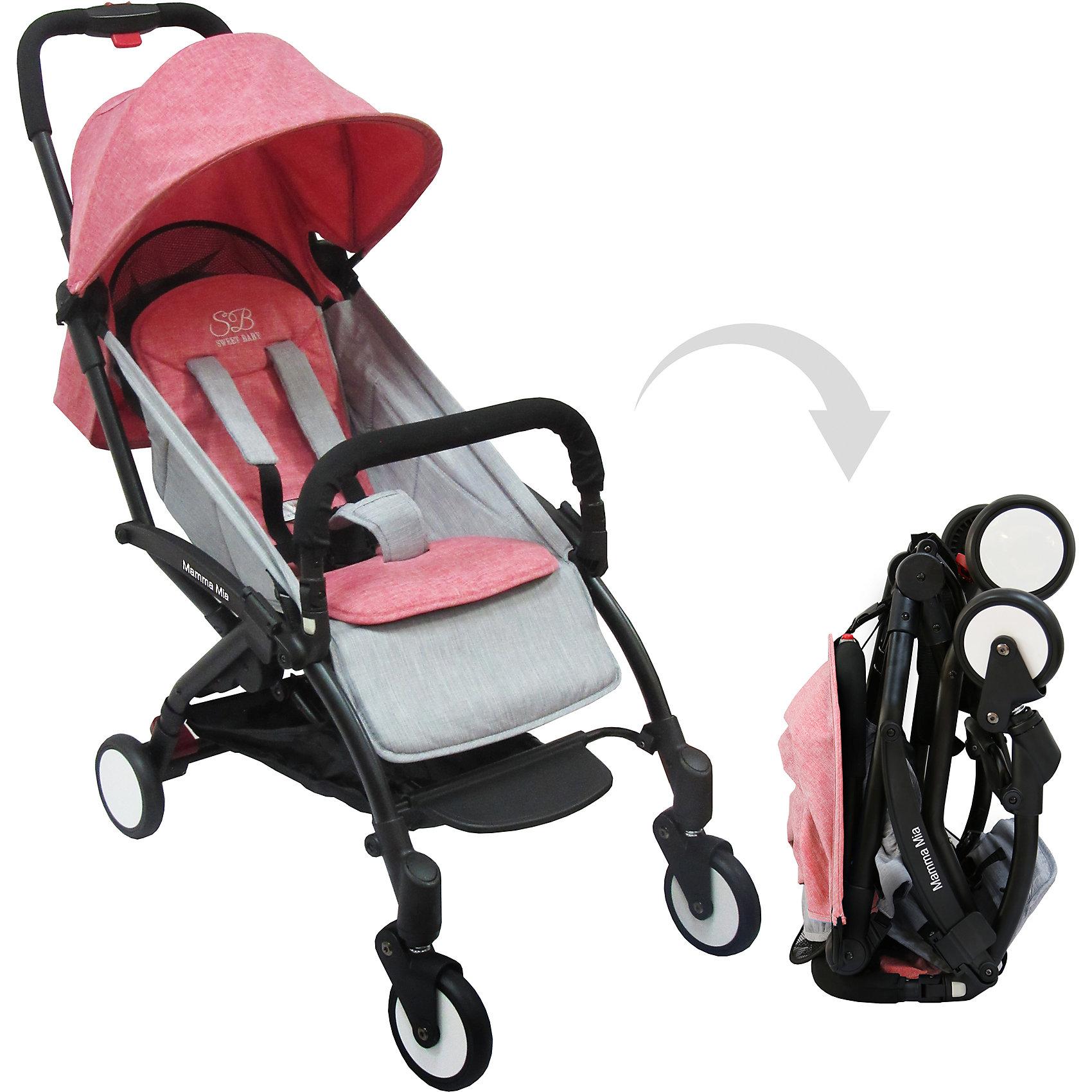 Прогулочная коляска Sweet Baby Mamma Mia Linen Milos, розоваяПрогулочные коляски<br>Характеристики товара:<br><br>• цвет: Linen Milos, розовый<br>• алюминиевая рама.<br>• регулируемая ремешком спинка коляски, угол наклона 165 градусов<br>• на сиденье со спинкой находится съемный матрасик с прорезями для ремней<br>• защитный съемный бампер перед ребенком<br>• пластиковая подножка для подросшего ребенка<br>• капюшон со смотровым окошком<br>• цельная ручка коляски с накладкой<br>• полиуретановые колеса<br>• передние поворотные (без блокировки)<br>• пружинная амортизация на передних колесах<br>• тип тормоза: ножной, на одном из задних колес<br>• механизм складывания: книжка<br>• коляска складывается одной рукой вместе с прогулочным блоком<br>• имеется ремень для переноски коляски на плече<br><br>Размер коляски: 67х45х103 см<br>Размер коляски в сложенном виде: 20х43х57 см<br>Вес коляски: 5,8 кг<br>Размер упаковки: 95х46х97 см<br>Вес в упаковке: 7,7 кг<br><br>Прогулочная коляска Mamma Mia бренда Sweet Baby имеет небольшой вес и компактный размер, что идеально для родителей, путешествующих с ребенком. В сложенном виде она очень компактна и без труда влезет в багажник или на полку самолета.<br><br>Прогулочную коляску Mamma Mia Linen Milos, Sweet Baby, розовую можно купить в нашем интернет-магазине.<br><br>Ширина мм: 950<br>Глубина мм: 460<br>Высота мм: 970<br>Вес г: 7770<br>Возраст от месяцев: 0<br>Возраст до месяцев: 36<br>Пол: Унисекс<br>Возраст: Детский<br>SKU: 5614395
