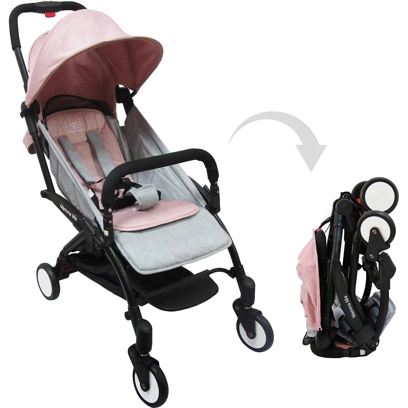 Прогулочная коляска Sweet Baby Mamma Mia Linen Bahamas, серо-розоваяПрогулочные коляски<br>Характеристики товара:<br><br>• цвет: Linen Bahamas, серо-розовый<br>• алюминиевая рама.<br>• регулируемая ремешком спинка коляски, угол наклона 165 градусов<br>• на сиденье со спинкой находится съемный матрасик с прорезями для ремней<br>• защитный съемный бампер перед ребенком<br>• пластиковая подножка для подросшего ребенка<br>• капюшон со смотровым окошком<br>• цельная ручка коляски с накладкой<br>• полиуретановые колеса<br>• передние поворотные (без блокировки)<br>• пружинная амортизация на передних колесах<br>• тип тормоза: ножной, на одном из задних колес<br>• механизм складывания: книжка<br>• коляска складывается одной рукой вместе с прогулочным блоком<br>• имеется ремень для переноски коляски на плече<br><br>Размер коляски: 67х45х103 см<br>Размер коляски в сложенном виде: 20х43х57 см<br>Вес коляски: 5,8 кг<br>Размер упаковки: 95х46х97 см<br>Вес в упаковке: 7,7 кг<br><br>Прогулочная коляска Mamma Mia бренда Sweet Baby имеет небольшой вес и компактный размер, что идеально для родителей, путешествующих с ребенком. В сложенном виде она очень компактна и без труда влезет в багажник или на полку самолета.<br><br>Прогулочную коляску Mamma Mia Linen Bahamas, Sweet Baby, цвет серо-розовый можно купить в нашем интернет-магазине.<br><br>Ширина мм: 950<br>Глубина мм: 460<br>Высота мм: 970<br>Вес г: 7770<br>Возраст от месяцев: 0<br>Возраст до месяцев: 36<br>Пол: Унисекс<br>Возраст: Детский<br>SKU: 5614396