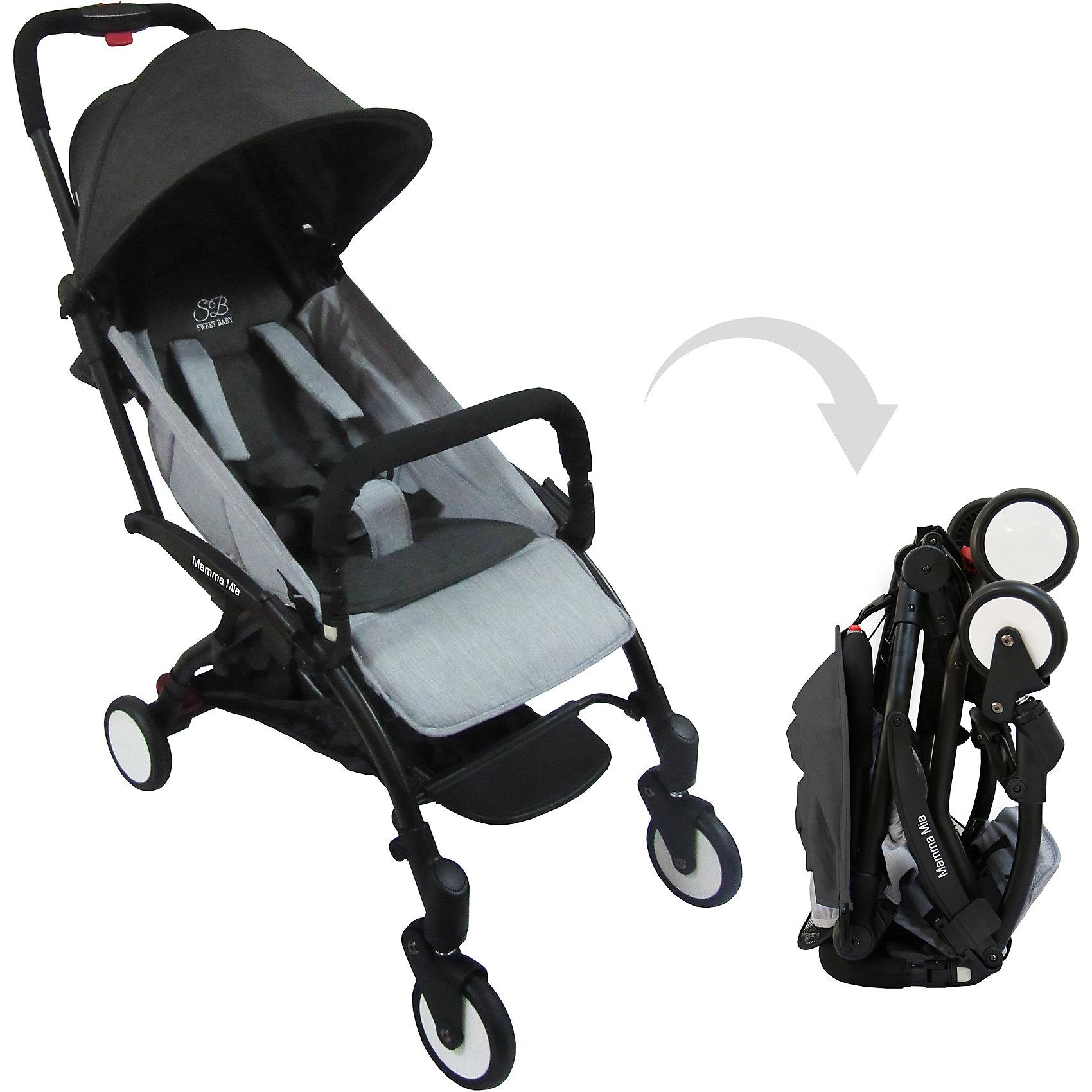 Прогулочная коляска Sweet Baby Mamma Mia Linen Goa, чернаяПрогулочные коляски<br>Характеристики товара:<br><br>• цвет: Linen Goa, черный<br>• алюминиевая рама.<br>• регулируемая ремешком спинка коляски, угол наклона 165 градусов<br>• на сиденье со спинкой находится съемный матрасик с прорезями для ремней<br>• защитный съемный бампер перед ребенком<br>• пластиковая подножка для подросшего ребенка<br>• капюшон со смотровым окошком<br>• цельная ручка коляски с накладкой<br>• полиуретановые колеса<br>• передние поворотные (без блокировки)<br>• пружинная амортизация на передних колесах<br>• тип тормоза: ножной, на одном из задних колес<br>• механизм складывания: книжка<br>• коляска складывается одной рукой вместе с прогулочным блоком<br>• имеется ремень для переноски коляски на плече<br><br>Размер коляски: 67х45х103 см<br>Размер коляски в сложенном виде: 20х43х57 см<br>Вес коляски: 5,8 кг<br>Размер упаковки: 95х46х97 см<br>Вес в упаковке: 7,7 кг<br><br>Прогулочная коляска Mamma Mia бренда Sweet Baby имеет небольшой вес и компактный размер, что идеально для родителей, путешествующих с ребенком. В сложенном виде она очень компактна и без труда влезет в багажник или на полку самолета.<br><br>Прогулочную коляску Mamma Mia Linen Goa, Sweet Baby, черную можно купить в нашем интернет-магазине.<br><br>Ширина мм: 950<br>Глубина мм: 460<br>Высота мм: 970<br>Вес г: 7770<br>Возраст от месяцев: 0<br>Возраст до месяцев: 36<br>Пол: Унисекс<br>Возраст: Детский<br>SKU: 5614397