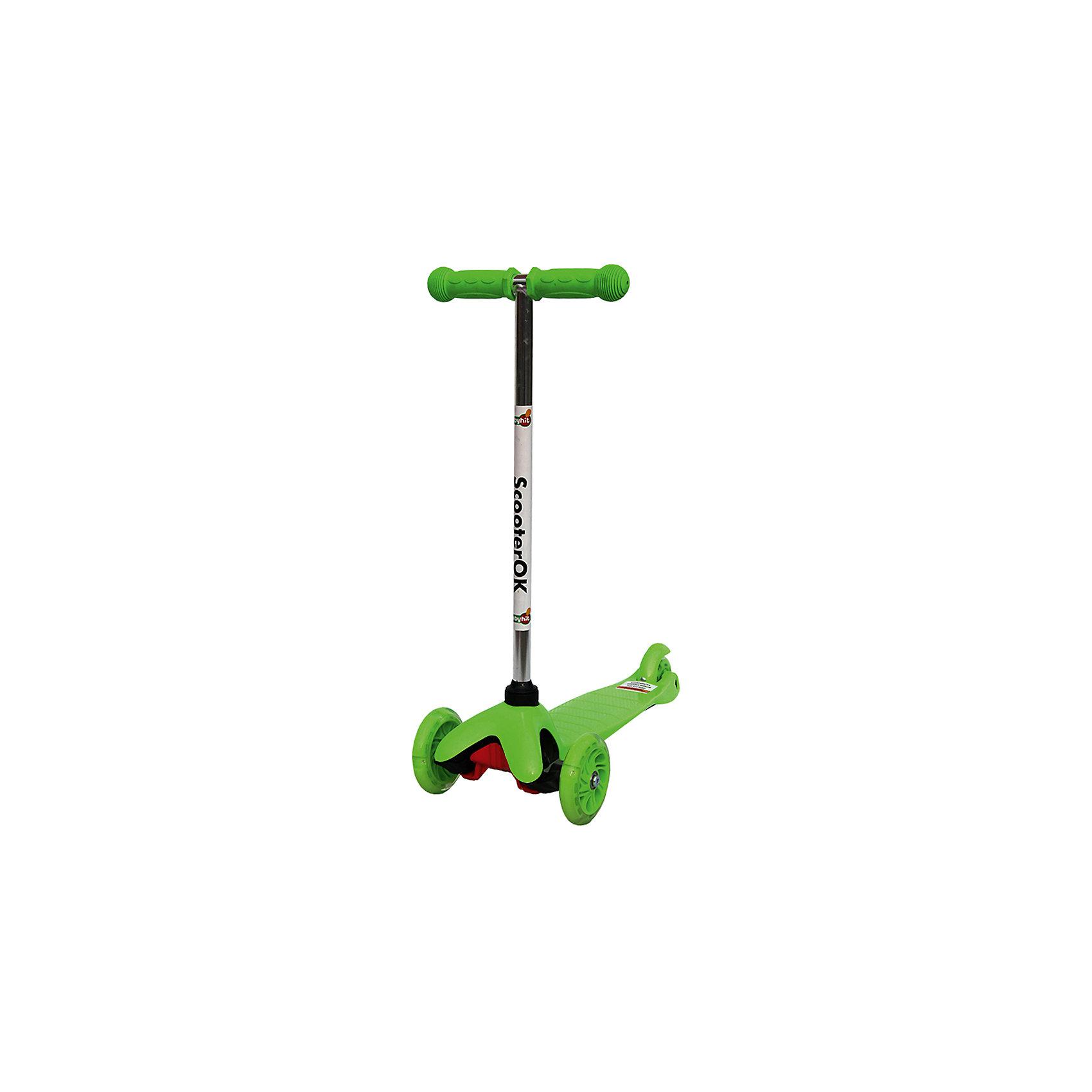 Самокат, зеленый, ScooterOKСамокаты<br>Особенности самоката Babyhit ScooterOk:<br>• Для детей от 3-х лет<br>• Силиконовые колеса со светодиодной подсветкой <br>• Фиксированная высота ручки (67 см)<br>• Диаметр колес: переднее - 110 мм, заднего – 80 мм<br>• Высокое качество применяемых материалов<br>• Максимальная нагрузка - до 40 кг<br><br>Ширина мм: 550<br>Глубина мм: 140<br>Высота мм: 275<br>Вес г: 2317<br>Цвет: зеленый<br>Возраст от месяцев: 36<br>Возраст до месяцев: 2147483647<br>Пол: Унисекс<br>Возраст: Детский<br>SKU: 5614420