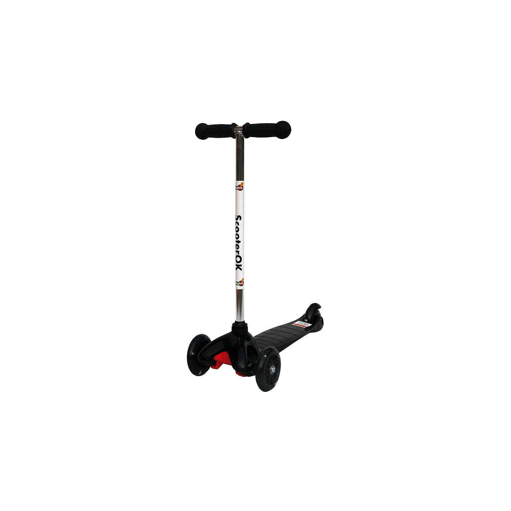Самокат, черный, ScooterOKСамокаты<br>Особенности самоката Babyhit ScooterOk:<br>• Для детей от 3-х лет<br>• Силиконовые колеса со светодиодной подсветкой <br>• Фиксированная высота ручки (67 см)<br>• Диаметр колес: переднее - 110 мм, заднего – 80 мм<br>• Высокое качество применяемых материалов<br>• Максимальная нагрузка - до 40 кг<br><br>Ширина мм: 550<br>Глубина мм: 140<br>Высота мм: 275<br>Вес г: 2317<br>Цвет: черный<br>Возраст от месяцев: 36<br>Возраст до месяцев: 2147483647<br>Пол: Унисекс<br>Возраст: Детский<br>SKU: 5614421