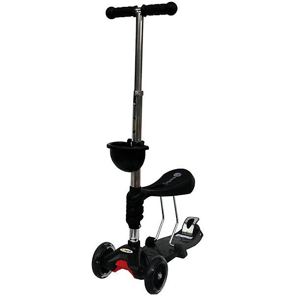 Самокат, черный, ScooterOK TolocarСамокаты<br>Характеристики товара:<br><br>• возраст от 3 лет;<br>• материал: пластик, металл;<br>• колёса со светодиодной подсветкой<br>• максимальная нагрузка до 50 кг;<br>• усиленная платформа<br>• материал колес: силикон;<br>• диаметр передних колес 12 см, заднего 8 см;<br>• высота руля 65-90 см;<br>• размер упаковки 60х28х14,5 см;<br>• вес упаковки 3,66 кг;<br>• страна производитель: Китай.<br><br>Самокат-толокар Babyhit ScooterOK Tolocar черный — оригинальный самокат с сидением. Для малыша, который еще не освоил самокат, его можно использовать с сидением. Таким образом малыш учится кататься, отталкиваясь ножками от земли. Такой самокат удобен, если в семье 2 ребенка. Ребенок постарше может кататься на обычном самокате, сняв сидение. А младший будет учиться ездить, сидя на сидении. <br><br>Руль с накладками регулируется под рост детей. 2 передних колеса делают самокат устойчивым. Спереди на рулевую стойку крепится корзинка для мелочей или игрушек. Колеса оснащены светодиодной подсветкой, которая горит во время движения.<br><br>Самокат-толокар Babyhit ScooterOK Tolocar черный можно приобрести в нашем интернет-магазине.<br>Ширина мм: 600; Глубина мм: 145; Высота мм: 280; Вес г: 3660; Цвет: черный; Возраст от месяцев: 36; Возраст до месяцев: 2147483647; Пол: Унисекс; Возраст: Детский; SKU: 5614422;