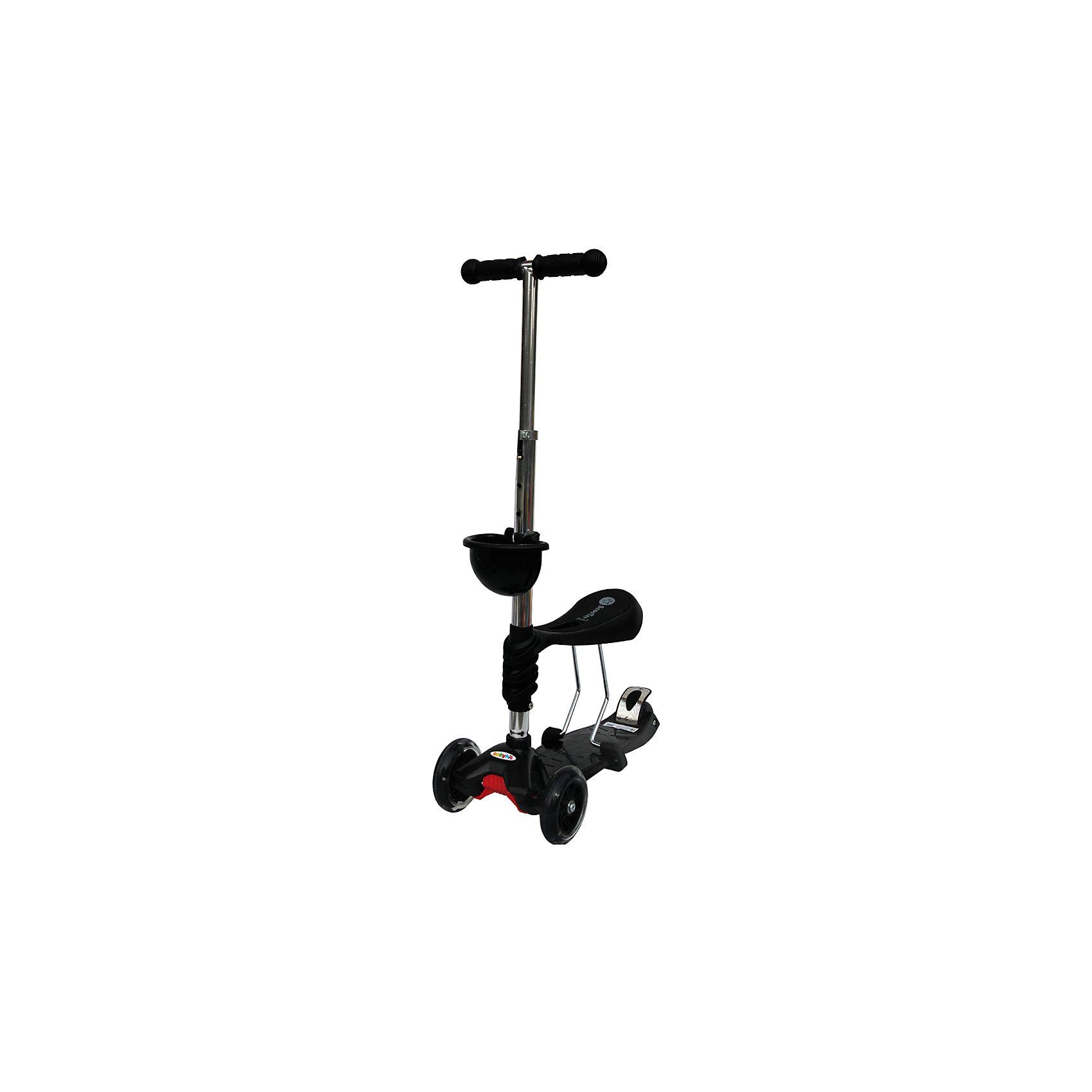 Самокат, черный, ScooterOK TolocarСамокаты<br>Особенности самоката-толокара Babyhit ScooterOk Tolocar:<br>• Для детей от 3-х лет<br>• Регулируемая по высоте ручка (от 65 до 90 см) <br>• Силиконовые колеса со светодиодной подсветкой<br>• Задние сдвоенные колеса для большей устойчивости<br>• Съемное сидение, превращающее самокат в толокар (на высоте 40 см)<br>• Корзинка для мелочей<br>• Усиленная платформа <br>• Высокое качество применяемых материалов<br>• Диаметр колес: передние – 120 мм, задние – 80 мм<br>• Максимальная нагрузка - до 40 кг<br><br>Ширина мм: 600<br>Глубина мм: 145<br>Высота мм: 280<br>Вес г: 3660<br>Цвет: черный<br>Возраст от месяцев: 36<br>Возраст до месяцев: 2147483647<br>Пол: Унисекс<br>Возраст: Детский<br>SKU: 5614422