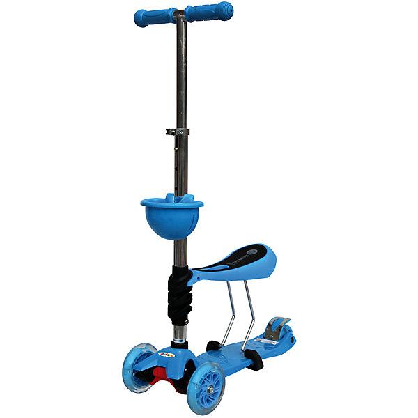 Самокат, синий, ScooterOK TolocarСамокаты<br>Характеристики товара:<br><br>• возраст от 3 лет;<br>• материал: пластик, металл;<br>• колёса со светодиодной подсветкой<br>• максимальная нагрузка до 50 кг;<br>• усиленная платформа<br>• материал колес: силикон;<br>• диаметр передних колес 12 см, заднего 8 см;<br>• высота руля 65-90 см;<br>• размер упаковки 60х28х14,5 см;<br>• вес упаковки 3,66 кг;<br>• страна производитель: Китай.<br><br>Самокат-толокар Babyhit ScooterOK Tolocar синий — оригинальный самокат с сидением. Для малыша, который еще не освоил самокат, его можно использовать с сидением. Таким образом малыш учится кататься, отталкиваясь ножками от земли. Такой самокат удобен, если в семье 2 ребенка. Ребенок постарше может кататься на обычном самокате, сняв сидение. А младший будет учиться ездить, сидя на сидении. <br><br>Руль с накладками регулируется под рост детей. 2 передних колеса делают самокат устойчивым. Спереди на рулевую стойку крепится корзинка для мелочей или игрушек. Колеса оснащены светодиодной подсветкой, которая горит во время движения.<br><br>Самокат-толокар Babyhit ScooterOK Tolocar синий можно приобрести в нашем интернет-магазине.<br>Ширина мм: 600; Глубина мм: 145; Высота мм: 280; Вес г: 3660; Цвет: синий; Возраст от месяцев: 24; Возраст до месяцев: 2147483647; Пол: Мужской; Возраст: Детский; SKU: 5614423;