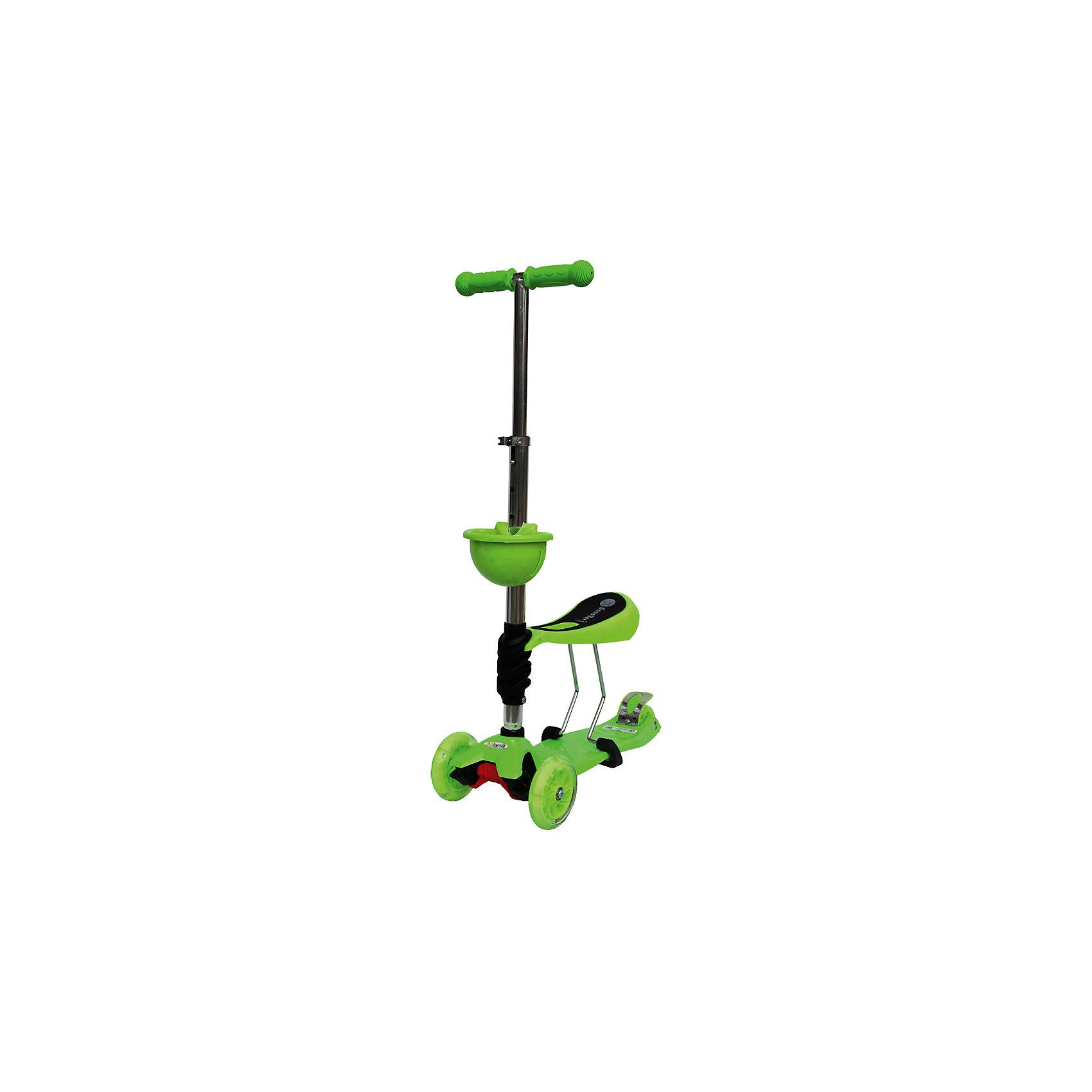 Самокат, зеленый, ScooterOK TolocarСамокаты<br>Особенности самоката-толокара Babyhit ScooterOk Tolocar:<br>• Для детей от 3-х лет<br>• Регулируемая по высоте ручка (от 65 до 90 см) <br>• Силиконовые колеса со светодиодной подсветкой<br>• Задние сдвоенные колеса для большей устойчивости<br>• Съемное сидение, превращающее самокат в толокар (на высоте 40 см)<br>• Корзинка для мелочей<br>• Усиленная платформа <br>• Высокое качество применяемых материалов<br>• Диаметр колес: передние – 120 мм, задние – 80 мм<br>• Максимальная нагрузка - до 40 кг<br><br>Ширина мм: 600<br>Глубина мм: 145<br>Высота мм: 280<br>Вес г: 3660<br>Цвет: зеленый<br>Возраст от месяцев: 36<br>Возраст до месяцев: 2147483647<br>Пол: Унисекс<br>Возраст: Детский<br>SKU: 5614424