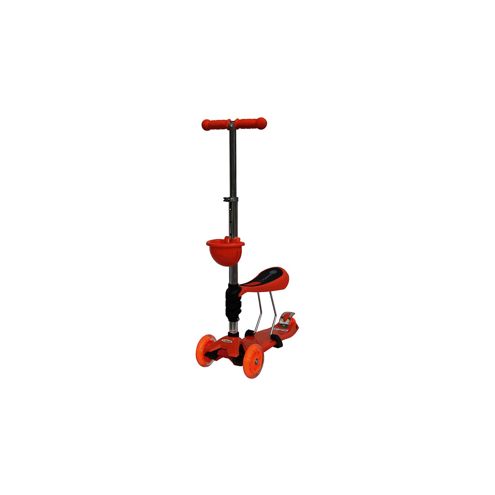 Самокат, оранжевый,  ScooterOK TolocarСамокаты<br>Характеристики товара:<br><br>• возраст от 3 лет;<br>• материал: пластик, металл;<br>• колёса со светодиодной подсветкой<br>• максимальная нагрузка до 50 кг;<br>• усиленная платформа<br>• материал колес: силикон;<br>• диаметр передних колес 12 см, заднего 8 см;<br>• высота руля 65-90 см;<br>• размер упаковки 60х28х14,5 см;<br>• вес упаковки 3,66 кг;<br>• страна производитель: Китай.<br><br>Самокат-толокар Babyhit ScooterOK Tolocar оранжевый — оригинальный самокат с сидением. Для малыша, который еще не освоил самокат, его можно использовать с сидением. Таким образом малыш учится кататься, отталкиваясь ножками от земли. Такой самокат удобен, если в семье 2 ребенка. Ребенок постарше может кататься на обычном самокате, сняв сидение. А младший будет учиться ездить, сидя на сидении. <br><br>Руль с накладками регулируется под рост детей. 2 передних колеса делают самокат устойчивым. Спереди на рулевую стойку крепится корзинка для мелочей или игрушек. Колеса оснащены светодиодной подсветкой, которая горит во время движения.<br><br>Самокат-толокар Babyhit ScooterOK Tolocar оранжевый можно приобрести в нашем интернет-магазине.<br><br>Ширина мм: 600<br>Глубина мм: 145<br>Высота мм: 280<br>Вес г: 3660<br>Цвет: оранжевый<br>Возраст от месяцев: 24<br>Возраст до месяцев: 2147483647<br>Пол: Унисекс<br>Возраст: Детский<br>SKU: 5614425