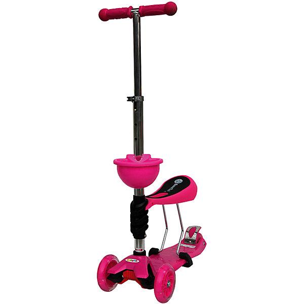 Самокат, розовый,  ScooterOK TolocarСамокаты<br>Характеристики товара:<br><br>• возраст от 3 лет;<br>• материал: пластик, металл;<br>• колёса со светодиодной подсветкой<br>• максимальная нагрузка до 50 кг;<br>• усиленная платформа<br>• материал колес: силикон;<br>• диаметр передних колес 12 см, заднего 8 см;<br>• высота руля 65-90 см;<br>• размер упаковки 60х28х14,5 см;<br>• вес упаковки 3,66 кг;<br>• страна производитель: Китай.<br><br>Самокат-толокар Babyhit ScooterOK Tolocar розовый — оригинальный самокат с сидением. Для малыша, который еще не освоил самокат, его можно использовать с сидением. Таким образом малыш учится кататься, отталкиваясь ножками от земли. Такой самокат удобен, если в семье 2 ребенка. Ребенок постарше может кататься на обычном самокате, сняв сидение. А младший будет учиться ездить, сидя на сидении. <br><br>Руль с накладками регулируется под рост детей. 2 передних колеса делают самокат устойчивым. Спереди на рулевую стойку крепится корзинка для мелочей или игрушек. Колеса оснащены светодиодной подсветкой, которая горит во время движения.<br><br>Самокат-толокар Babyhit ScooterOK Tolocar розовый можно приобрести в нашем интернет-магазине.<br>Ширина мм: 600; Глубина мм: 145; Высота мм: 280; Вес г: 3660; Цвет: розовый; Возраст от месяцев: 24; Возраст до месяцев: 2147483647; Пол: Женский; Возраст: Детский; SKU: 5614426;