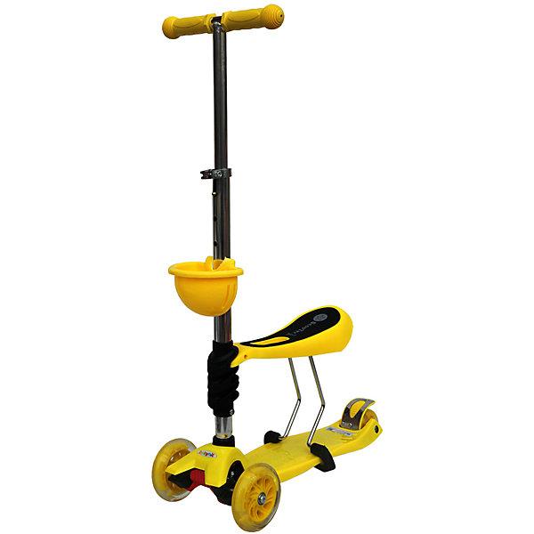 Самокат,желтый, ScooterOK TolocarСамокаты<br>Характеристики товара:<br><br>• возраст от 3 лет;<br>• материал: пластик, металл;<br>• колёса со светодиодной подсветкой<br>• максимальная нагрузка до 50 кг;<br>• усиленная платформа<br>• материал колес: силикон;<br>• диаметр передних колес 12 см, заднего 8 см;<br>• высота руля 65-90 см;<br>• размер упаковки 60х28х14,5 см;<br>• вес упаковки 3,66 кг;<br>• страна производитель: Китай.<br><br>Самокат-толокар Babyhit ScooterOK Tolocar жёлтый — оригинальный самокат с сидением. Для малыша, который еще не освоил самокат, его можно использовать с сидением. Таким образом малыш учится кататься, отталкиваясь ножками от земли. Такой самокат удобен, если в семье 2 ребенка. Ребенок постарше может кататься на обычном самокате, сняв сидение. А младший будет учиться ездить, сидя на сидении. <br><br>Руль с накладками регулируется под рост детей. 2 передних колеса делают самокат устойчивым. Спереди на рулевую стойку крепится корзинка для мелочей или игрушек. Колеса оснащены светодиодной подсветкой, которая горит во время движения.<br><br>Самокат-толокар Babyhit ScooterOK Tolocar жёлтый можно приобрести в нашем интернет-магазине.<br><br>Ширина мм: 600<br>Глубина мм: 145<br>Высота мм: 280<br>Вес г: 3660<br>Возраст от месяцев: 24<br>Возраст до месяцев: 2147483647<br>Пол: Унисекс<br>Возраст: Детский<br>SKU: 5614428