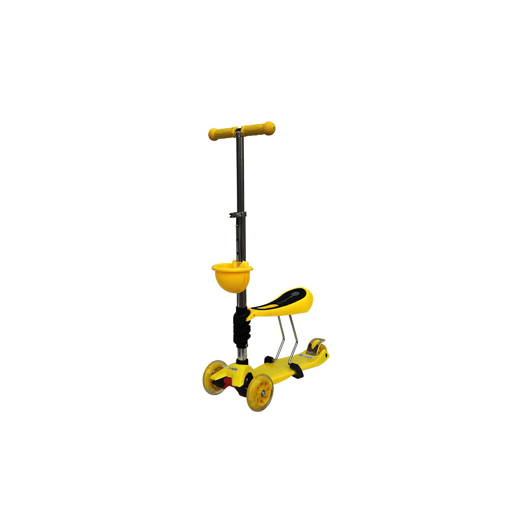 Самокат,желтый, ScooterOK TolocarСамокаты<br>Особенности самоката-толокара Babyhit ScooterOk Tolocar:<br>• Для детей от 3-х лет<br>• Регулируемая по высоте ручка (от 65 до 90 см) <br>• Силиконовые колеса со светодиодной подсветкой<br>• Задние сдвоенные колеса для большей устойчивости<br>• Съемное сидение, превращающее самокат в толокар (на высоте 40 см)<br>• Корзинка для мелочей<br>• Усиленная платформа <br>• Высокое качество применяемых материалов<br>• Диаметр колес: передние – 120 мм, задние – 80 мм<br>• Максимальная нагрузка - до 40 кг<br><br>Ширина мм: 600<br>Глубина мм: 145<br>Высота мм: 280<br>Вес г: 3660<br>Возраст от месяцев: 36<br>Возраст до месяцев: 2147483647<br>Пол: Унисекс<br>Возраст: Детский<br>SKU: 5614428