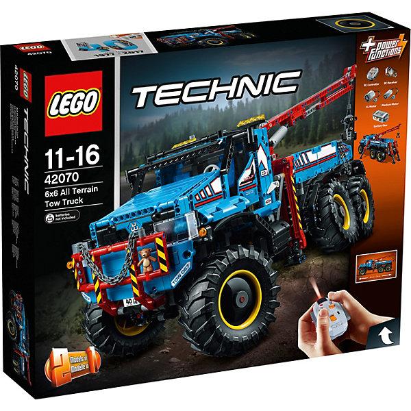 LEGO Technic 42070: Аварийный внедорожник 6х6Пластмассовые конструкторы<br>Характеристики товара: <br><br>• возраст: от 11 лет;<br>• материал: пластик;<br>• в комплекте: 1862 детали, пульт ДУ, приемник ДУ, 2 мотора;<br>• длина собранной машины: 63 см;<br>• размер упаковки: 58,2х48х12,4 см;<br>• вес упаковки: 4,02 кг;<br>• страна производитель: Чехия.<br><br>Конструктор Lego Technic «Аварийный внедорожник 6х6» позволит собрать сразу 2 разные модели: внедорожник 6х6 и исследовательский перевозчик. Внедорожник работает от аккумулятора и управляется пультом управления. При помощи пульта можно управлять машинкой, ездить вперед и назад, поворачивать, выдвигать опоры, поднимать и опускать стрелу.<br><br>Конструктор Lego Technic «Аварийный внедорожник 6х6» можно приобрести в нашем интернет-магазине.<br><br>Ширина мм: 583<br>Глубина мм: 472<br>Высота мм: 132<br>Вес г: 4018<br>Возраст от месяцев: 132<br>Возраст до месяцев: 192<br>Пол: Мужской<br>Возраст: Детский<br>SKU: 5619963
