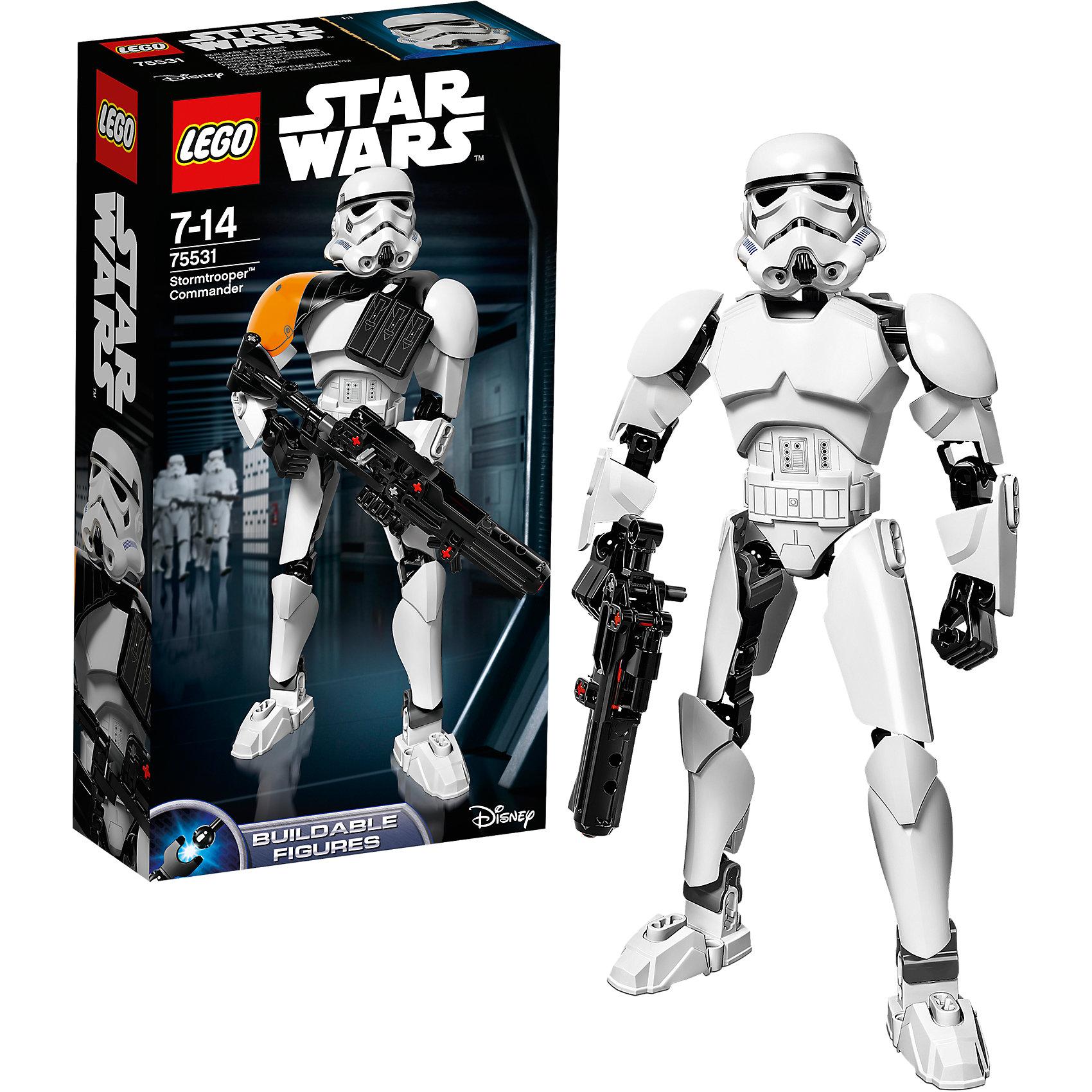 Конструктор Lego Star Wars 75531: Командир штурмовиковПластмассовые конструкторы<br>Характеристики товара:<br><br>• возраст: от 7 лет;<br>• материал: пластик;<br>• в комплекте: 100 деталей;<br>• размер упаковки: 26,2х14,1х6,1 см;<br>• вес упаковки: 260 гр.;<br>• страна производитель: Китай.<br><br>Конструктор Lego Star Wars «Командир штурмовиков» создан по мотивам известной космической саги «Звездные войны». Из элементов конструктора предстоит собрать фигурку штурмовика, одетого в знаменитый костюм и большой шлем. В руках он держит винтовку. У собранной фигурки имеются подвижные детали: двигается голова, руки и ноги сгибаются. <br><br>Все детали выполнены из качественных безопасных материалов. В процессе сборки конструктора у детей развиваются мелкая моторика рук, усидчивость, логическое мышление.<br><br>Конструктор Lego Star Wars «Командир штурмовиков» можно приобрести в нашем интернет-магазине.<br><br>Ширина мм: 263<br>Глубина мм: 144<br>Высота мм: 66<br>Вес г: 261<br>Возраст от месяцев: 84<br>Возраст до месяцев: 2147483647<br>Пол: Мужской<br>Возраст: Детский<br>SKU: 5619970