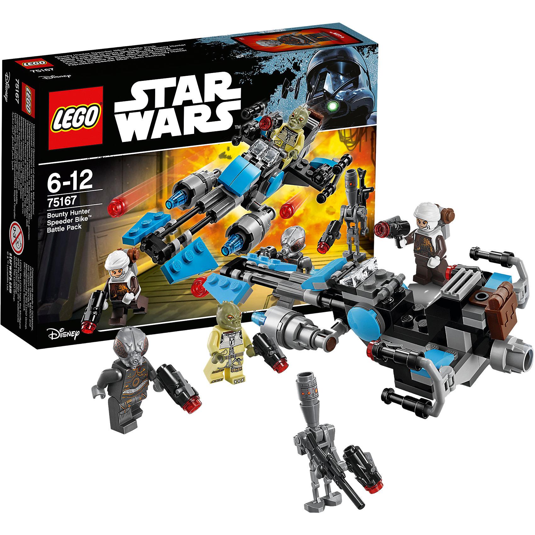 Конструктор Lego Star Wars 75167: Спидер охотника за головамиПластмассовые конструкторы<br>Характеристики товара:<br><br>• возраст: от 6 лет;<br>• материал: пластик;<br>• в комплекте: 122 детали;<br>• количество минифигурок: 4;<br>• размер упаковки: 14,1х19,1х4,6 см;<br>• вес упаковки: 125 гр.;<br>• страна производитель: Китай.<br><br>Конструктор Lego Star Wars «Спидер охотника за головами» создан по мотивам известной космической саги «Звездные войны». Из элементов конструктора предстоит собрать 4 фигурки персонажей и транспортное средство спидер, оснащенный пушками. У каждого охотника за головами в руках свой космический бластер.<br><br>Все детали выполнены из качественных безопасных материалов. В процессе сборки конструктора у детей развиваются мелкая моторика рук, усидчивость, логическое мышление.<br><br>Конструктор Lego Star Wars «Спидер охотника за головами» можно приобрести в нашем интернет-магазине.<br><br>Ширина мм: 401<br>Глубина мм: 200<br>Высота мм: 157<br>Вес г: 130<br>Возраст от месяцев: 72<br>Возраст до месяцев: 2147483647<br>Пол: Мужской<br>Возраст: Детский<br>SKU: 5619971