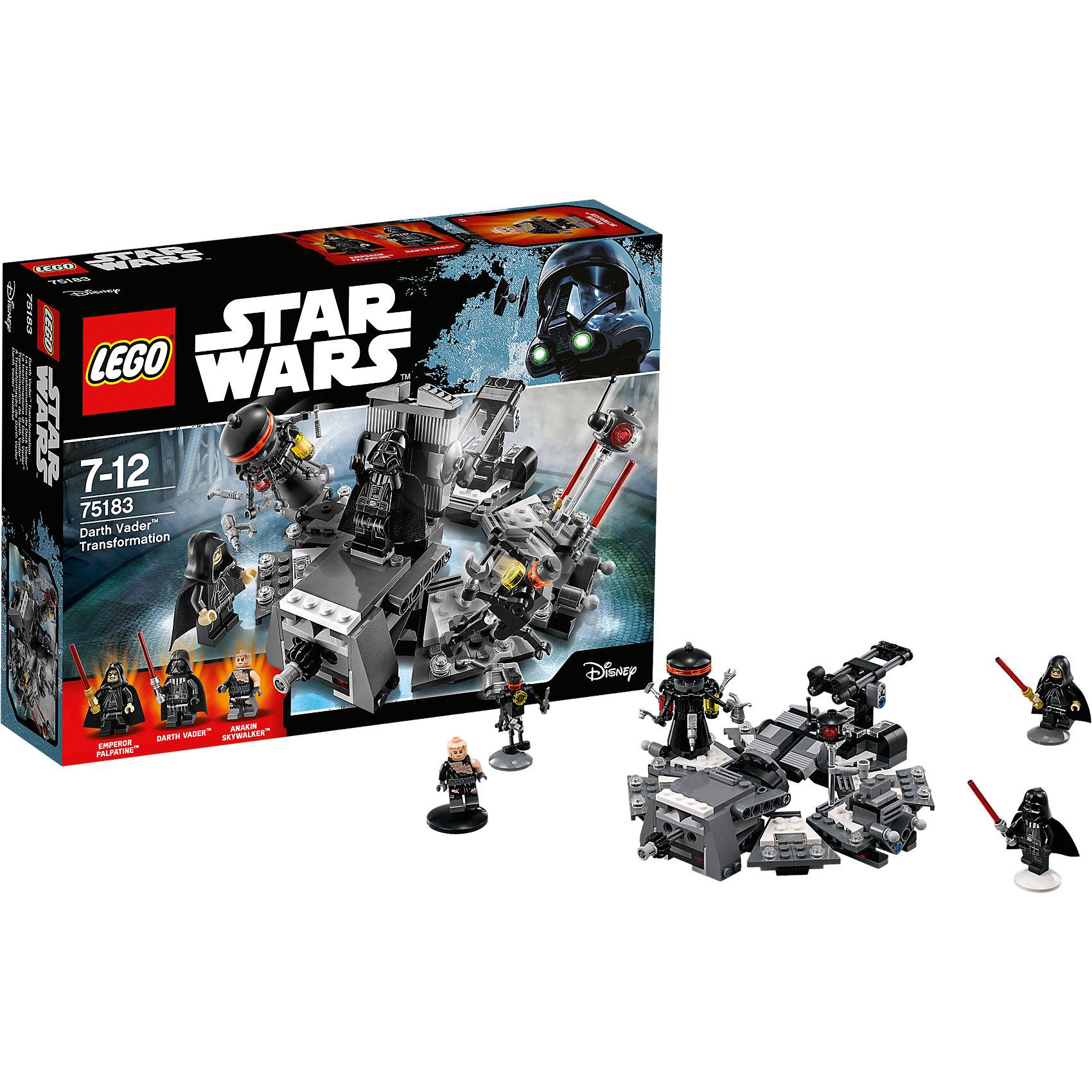 Конструктор Lego Star Wars 75183: Превращение в Дарта ВейдераПластмассовые конструкторы<br>Характеристики товара:<br><br>• возраст: от 7 лет;<br>• материал: пластик;<br>• в комплекте: 282 детали;<br>• количество минифигурок: 3 + фигурка дроида;<br>• размер упаковки: 26,2х19,1х6,1 см;<br>• вес упаковки: 365 гр.;<br>• страна производитель: Чехия.<br><br>Конструктор Lego Star Wars «Превращение в Дарта Вейдера» создан по мотивам известной космической саги «Звездные войны». Дарт Вейдер — один из самых известных персонажей саги, главный злодей. Под его маской скрыт некогда бывший джедаем Энакин Скайуокер. Раненный в бою, он превратился в Дарта Вейдера при помощи Императора Палпатина, который поставил ему протезы и сделал маску, через которую он дышит.<br><br>Из элементов конструктора предстоит собрать 4 фигурки персонажей и центр хирургии, где произошло превращение Энакина в Дарта Вейдера. Все детали выполнены из качественных безопасных материалов. В процессе сборки конструктора у детей развиваются мелкая моторика рук, усидчивость, логическое мышление.<br><br>Конструктор Lego Star Wars «Превращение в Дарта Вейдера» можно приобрести в нашем интернет-магазине.<br><br>Ширина мм: 262<br>Глубина мм: 192<br>Высота мм: 66<br>Вес г: 366<br>Возраст от месяцев: 84<br>Возраст до месяцев: 2147483647<br>Пол: Мужской<br>Возраст: Детский<br>SKU: 5619982