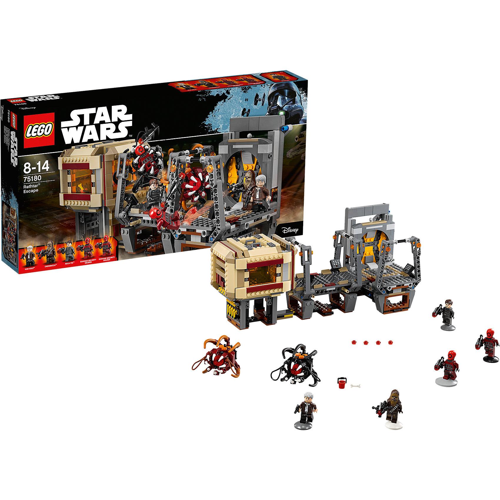 Конструктор Lego Star Wars 75180: Побег РафтараПластмассовые конструкторы<br>Характеристики товара:<br><br>• возраст: от 8 лет;<br>• материал: пластик;<br>• в комплекте: 836 деталей;<br>• количество минифигурок: 5;<br>• размер упаковки: 54х28,2х7,9 см;<br>• вес упаковки: 1,12 кг;<br>• страна производитель: Чехия.<br><br>Конструктор Lego Star Wars «Побег Рафтара» создан по мотивам 7 эпизода известной космической саги «Звездные войны: Пробуждение силы». Хан Соло и Чубакка атакуют группировки контрабандистов, которые пришли потребовать с Хана Соло его долги. Сражение происходит на корабле, на котором спрятаны противные монстры рафтары.<br><br>Из элементов конструктора предстоит собрать 5 фигурок персонажей, монстров и корабль. Все детали выполнены из качественных безопасных материалов. В процессе сборки конструктора у детей развиваются мелкая моторика рук, усидчивость, логическое мышление.<br><br>Конструктор Lego Star Wars «Побег Рафтара» можно приобрести в нашем интернет-магазине.<br><br>Ширина мм: 539<br>Глубина мм: 283<br>Высота мм: 83<br>Вес г: 1118<br>Возраст от месяцев: 96<br>Возраст до месяцев: 2147483647<br>Пол: Мужской<br>Возраст: Детский<br>SKU: 5619984