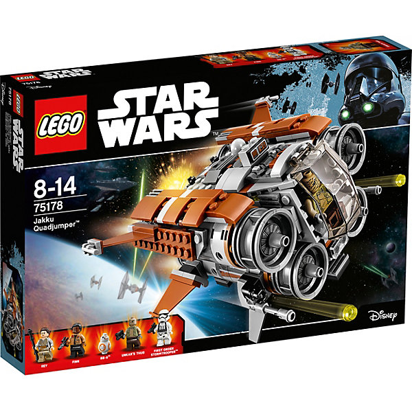 Конструктор Lego Star Wars 75178: Квадджампер ДжаккуПластмассовые конструкторы<br>Характеристики товара:<br><br>• возраст: от 8 лет;<br>• материал: пластик;<br>• в комплекте: 457 деталей;<br>• количество минифигурок: 5;<br>• размер упаковки: 38,2х26,2х5,7 см;<br>• вес упаковки: 680 гр.;<br>• страна производитель: Чехия.<br><br>Конструктор Lego Star Wars «Квадджампер Джакку» создан по мотивам 7 эпизода известной космической саги «Звездные войны: Пробуждение силы». Рэй и Финн встречаются на планете Джакку, где Первый орден пытается захватить дроида ВВ-8, в котором спрятаны координаты Люка Скайуокера.<br><br>Из элементов конструктора предстоит собрать 5 фигурок персонажей и космический летательный аппарат квадджампер. Все детали выполнены из качественных безопасных материалов. В процессе сборки конструктора у детей развиваются мелкая моторика рук, усидчивость, логическое мышление.<br><br>Конструктор Lego Star Wars «Квадджампер Джакку» можно приобрести в нашем интернет-магазине.<br><br>Ширина мм: 387<br>Глубина мм: 266<br>Высота мм: 66<br>Вес г: 682<br>Возраст от месяцев: 96<br>Возраст до месяцев: 2147483647<br>Пол: Мужской<br>Возраст: Детский<br>SKU: 5619985