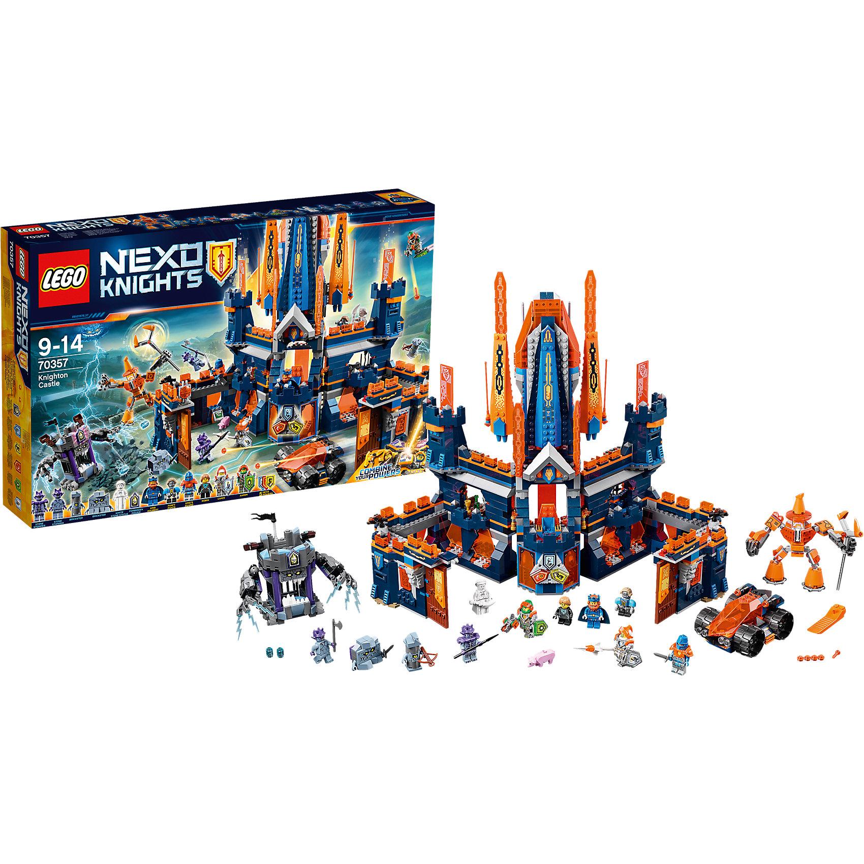 Конструктор Lego Nexo Knights 70357: Королевский замок НайтонПластмассовые конструкторы<br>Характеристики товара:<br><br>• возраст: от 9 лет;<br>• материал: пластик;<br>• в комплекте: 1426 деталей;<br>• количество минифигурок: 11;<br>• размер упаковки: 58,2х37,8х10,3 см;<br>• вес упаковки: 2,45 кг;<br>• страна производитель: Чехия.<br><br>Конструктор Lego Nexo Knights «Королевский замок Найтон» входит в серию Лего Нексо Найтс, которая повествует о королевстве Найтония и отважных рыцарях Нексо. Шут Джестро решил захватить трон королевства и создал армию Каменных монстров. Король Хальберт укрывается в своем замке, оснащенном большими стенами, башнями и оружием. Ему на помощь приходят отважные рыцари и маг Мерлок.<br><br>Из элементов конструктора предстоит собрать целых 11 фигурок персонажей, замок, машину, тюрьму. С ними дети могут придумывать свои захватывающие сюжеты для игры. В набор также включены нексо-силы, которые можно отсканировать через приложение и играть в игру. Сборка конструктора развивает у ребенка логическое мышление, моторику рук, усидчивость.<br><br>Конструктор Lego Nexo Knights «Королевский замок Найтон» можно приобрести в нашем интернет-магазине.<br><br>Ширина мм: 602<br>Глубина мм: 403<br>Высота мм: 228<br>Вес г: 2455<br>Возраст от месяцев: 108<br>Возраст до месяцев: 2147483647<br>Пол: Мужской<br>Возраст: Детский<br>SKU: 5619989