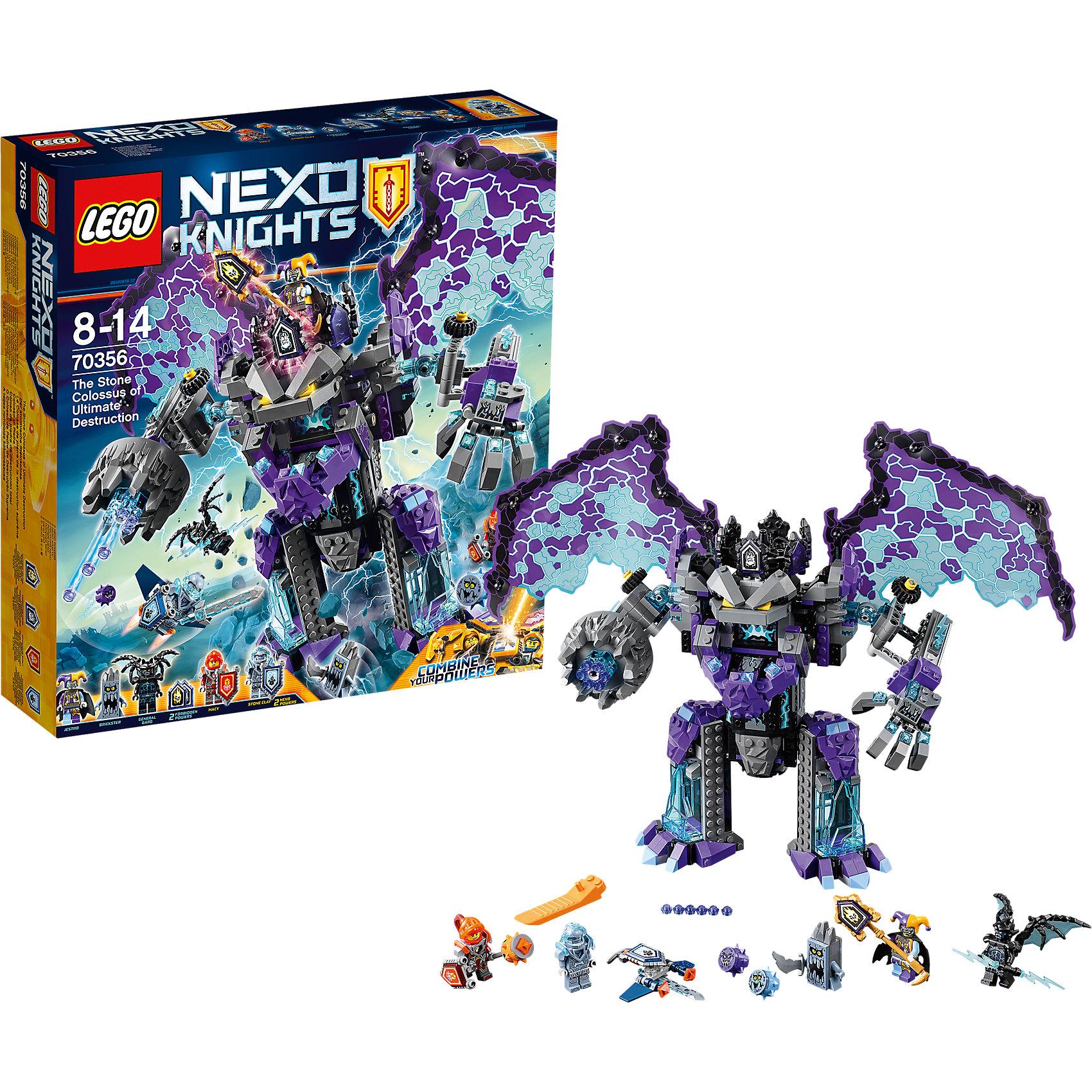 Конструктор Lego Nexo Knights 70356: Каменный великан-разрушительПластмассовые конструкторы<br>Характеристики товара:<br><br>• возраст: от 8 лет;<br>• материал: пластик;<br>• в комплекте: 785 деталей;<br>• количество минифигурок: 5<br>• размер упаковки: 35,4х37,8х9,4 см;<br>• вес упаковки: 1,21 кг;<br>• страна производитель: Китай.<br><br>Конструктор Lego Nexo Knights «Каменный великан-разрушитель» входит в серию Лего Нексо Найтс, которая повествует о королевстве Найтония и отважных рыцарях Нексо. Шут Джестро решил захватить трон королевства и создал армию Каменных монстров. Он управляет большим летающим монстром, стреляющим шипами. Отважные Клэй и Аксель противостоят сопернику.<br><br>Из элементов конструктора предстоит собрать 5 фигурок персонажей, монстра. С ними дети могут придумывать свои захватывающие сюжеты для игры. В набор также включены 2 нексо-силы, которые можно отсканировать через приложение и играть в игру. Сборка конструктора развивает у ребенка логическое мышление, моторику рук, усидчивость.<br><br>Конструктор Lego Nexo Knights «Каменный великан-разрушитель» можно приобрести в нашем интернет-магазине.<br><br>Ширина мм: 375<br>Глубина мм: 403<br>Высота мм: 299<br>Вес г: 1208<br>Возраст от месяцев: 96<br>Возраст до месяцев: 2147483647<br>Пол: Мужской<br>Возраст: Детский<br>SKU: 5619990