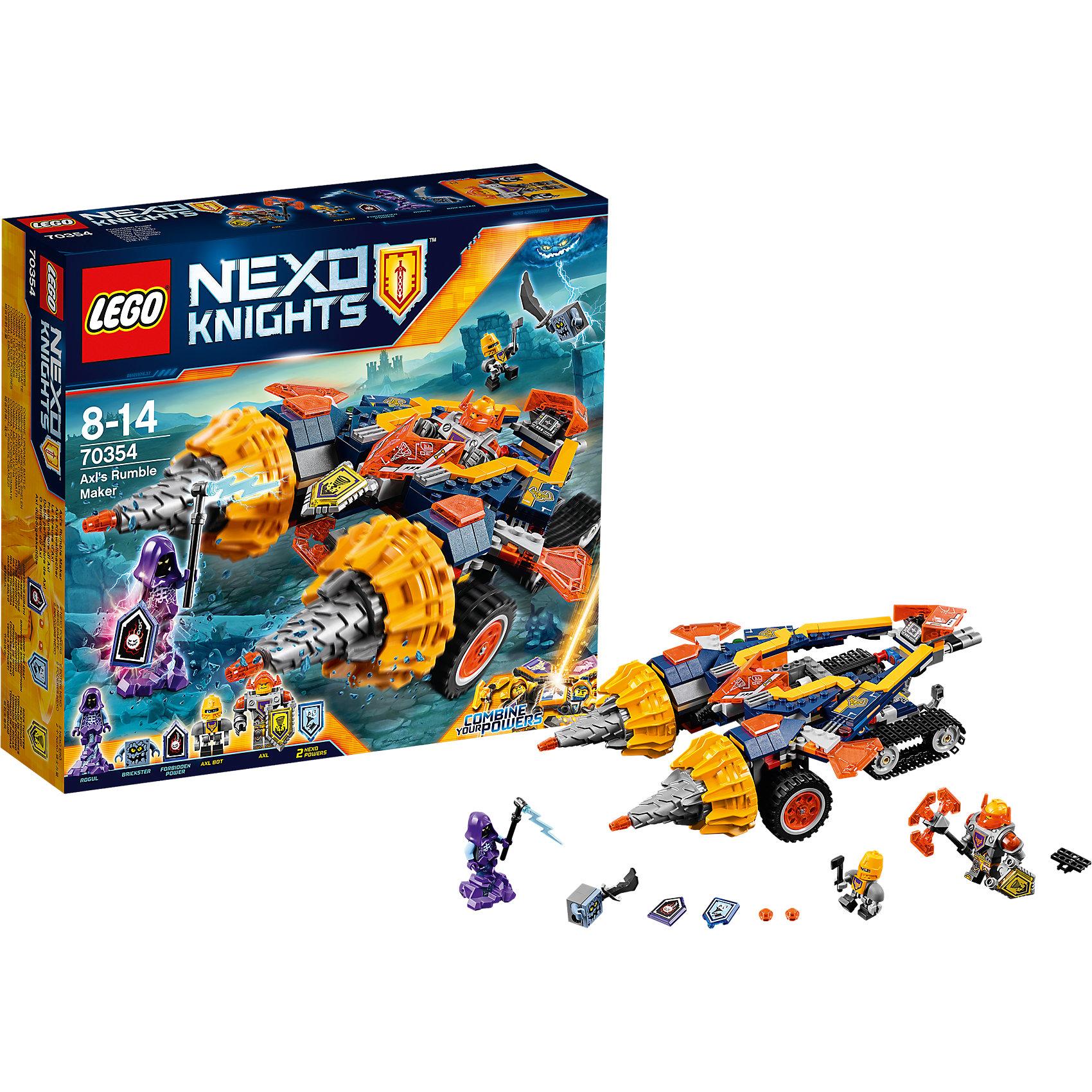 Конструктор Lego Nexo Knights 70354: Бур-машина АкселяПластмассовые конструкторы<br>Характеристики товара:<br><br>• возраст: от 8 лет;<br>• материал: пластик;<br>• в комплекте: 318 деталей;<br>• количество минифигурок: 3;<br>• размер упаковки: 28,2х26,2х7,6 см;<br>• вес упаковки: 600 гр.;<br>• страна производитель: Чехия.<br><br>Конструктор Lego Nexo Knights «Бур-машина Акселя» входит в серию Лего Нексо Найтс, которая повествует о королевстве Найтония и отважных рыцарях Нексо. Аксель — один из рыцарей. У него своя машина на гусеничном ходу с буровым механизмом. Машина умеет трансформироваться в танк, который управляется ботом Акселя.<br><br>Из элементов конструктора предстоит собрать фигурки Акселя, его бота, машину. С ними дети могут придумывать свои захватывающие сюжеты для игры. В набор также включены 2 нексо-силы, которые можно отсканировать через приложение и играть в игру. Сборка конструктора развивает у ребенка логическое мышление, моторику рук, усидчивость.<br><br>Конструктор Lego Nexo Knights «Бур-машина Акселя» можно приобрести в нашем интернет-магазине.<br><br>Ширина мм: 296<br>Глубина мм: 251<br>Высота мм: 284<br>Вес г: 598<br>Возраст от месяцев: 96<br>Возраст до месяцев: 2147483647<br>Пол: Мужской<br>Возраст: Детский<br>SKU: 5619992