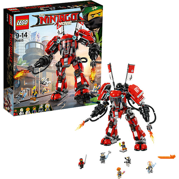 LEGO NINJAGO 70615: Огненный робот КаяПластмассовые конструкторы<br>Характеристики товара: <br><br>• возраст: от 9 лет;<br>• материал: пластик;<br>• в комплекте: 942 детали, 6 минифигурок;<br>• высота робота: 36 см;<br>• размер упаковки: 35,4х37,8х9,4 см;<br>• вес упаковки: 1,34 кг;<br>• страна производитель: Чехия.<br><br>Конструктор Lego Ninjago «Огненный робот Кая» создан по мотивам нового фильма «Лего-фильм: Ниндзяго», где отважным воинам ниндзя противостоит грозный Гармадон. У каждого воина своя боевая машина. Из деталей предстоит собрать большого робота Кая, который может стрелять дисками в противников. Кабина расположена в туловище, в нее размещается минифигурка. У робота несколько точек артикуляции, поэтому ему можно придавать разные позы.<br><br>Конструктор Lego Ninjago «Огненный робот Кая» можно приобрести в нашем интернет-магазине.<br>Ширина мм: 377; Глубина мм: 355; Высота мм: 96; Вес г: 1339; Возраст от месяцев: 108; Возраст до месяцев: 168; Пол: Мужской; Возраст: Детский; SKU: 5619996;