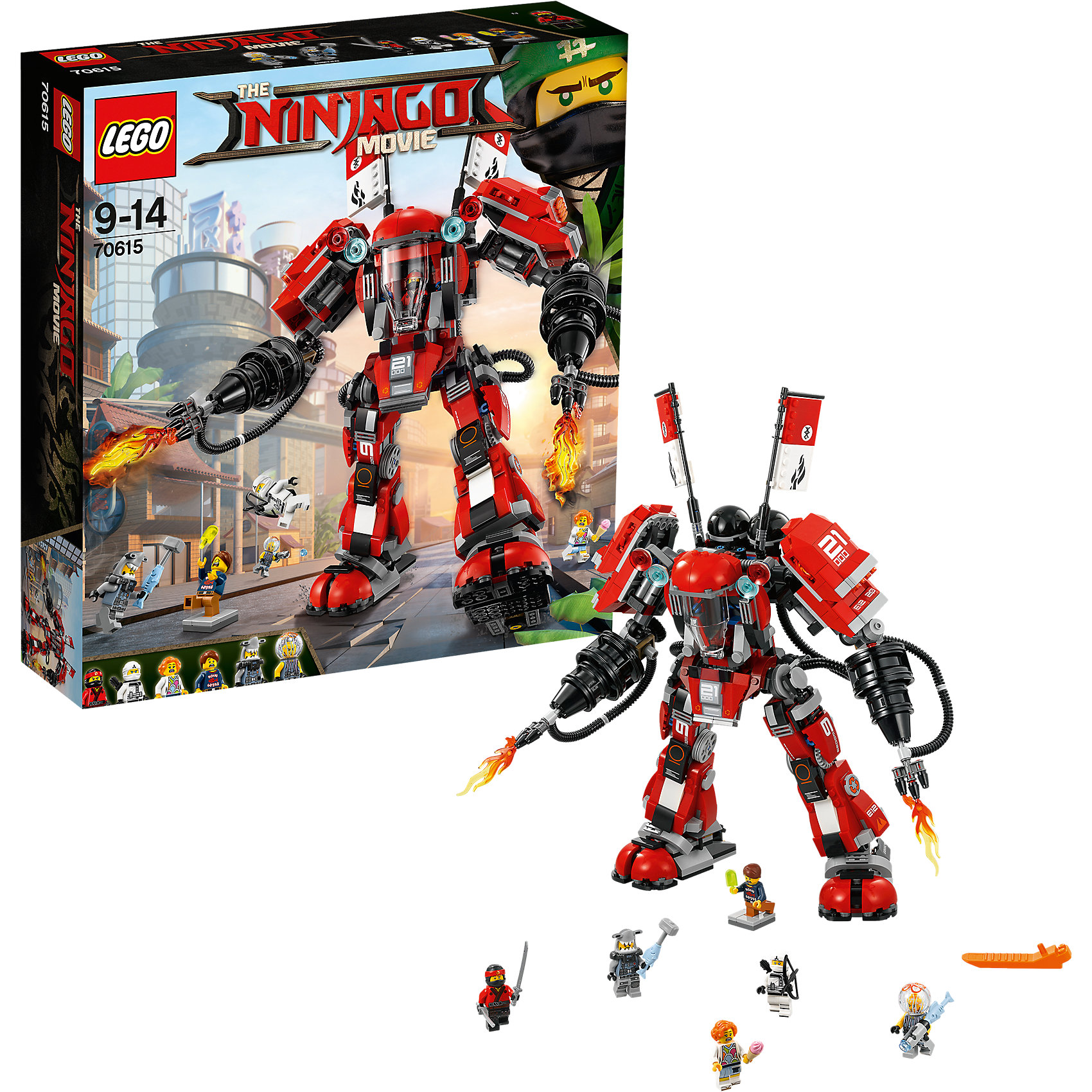 LEGO NINJAGO 70615: Огненный робот КаяПластмассовые конструкторы<br><br><br>Ширина мм: 378<br>Глубина мм: 352<br>Высота мм: 99<br>Вес г: 1345<br>Возраст от месяцев: 108<br>Возраст до месяцев: 168<br>Пол: Мужской<br>Возраст: Детский<br>SKU: 5619996