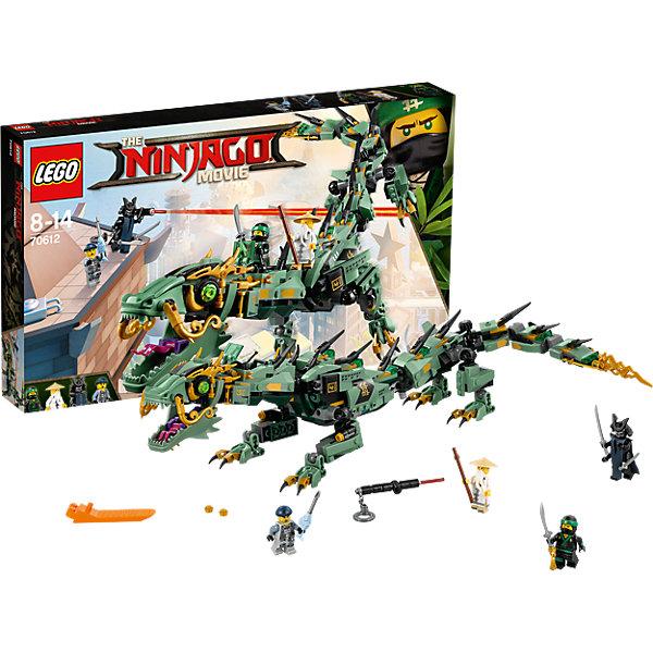 LEGO NINJAGO 70612: Механический Дракон Зелёного НиндзяПластмассовые конструкторы<br>Характеристики товара: <br><br>• возраст: от 8 лет;<br>• материал: пластик;<br>• в комплекте: 544 детали, 4 минифигурки;<br>• размер упаковки: 48х28,2х6,1 см;<br>• вес упаковки: 760 гр.;<br>• страна производитель: Чехия.<br><br>Конструктор Lego Ninjago «Механический дракон Зеленого ниндзя» создан по мотивам нового фильма «Лего-фильм: Ниндзяго», где отважным воинам ниндзя противостоит грозный Гармадон. Из элементов собирается дракон, которым управляет главный герой мультфильма Ллойд. На шее дракона расположена кабина управления, на лапах встроенный шипометы. У дракона открывается и закрывается пасть.<br><br>Конструктор Lego Ninjago «Механический дракон Зеленого ниндзя» можно приобрести в нашем интернет-магазине.<br>Ширина мм: 482; Глубина мм: 284; Высота мм: 68; Вес г: 760; Возраст от месяцев: 96; Возраст до месяцев: 168; Пол: Мужской; Возраст: Детский; SKU: 5619999;