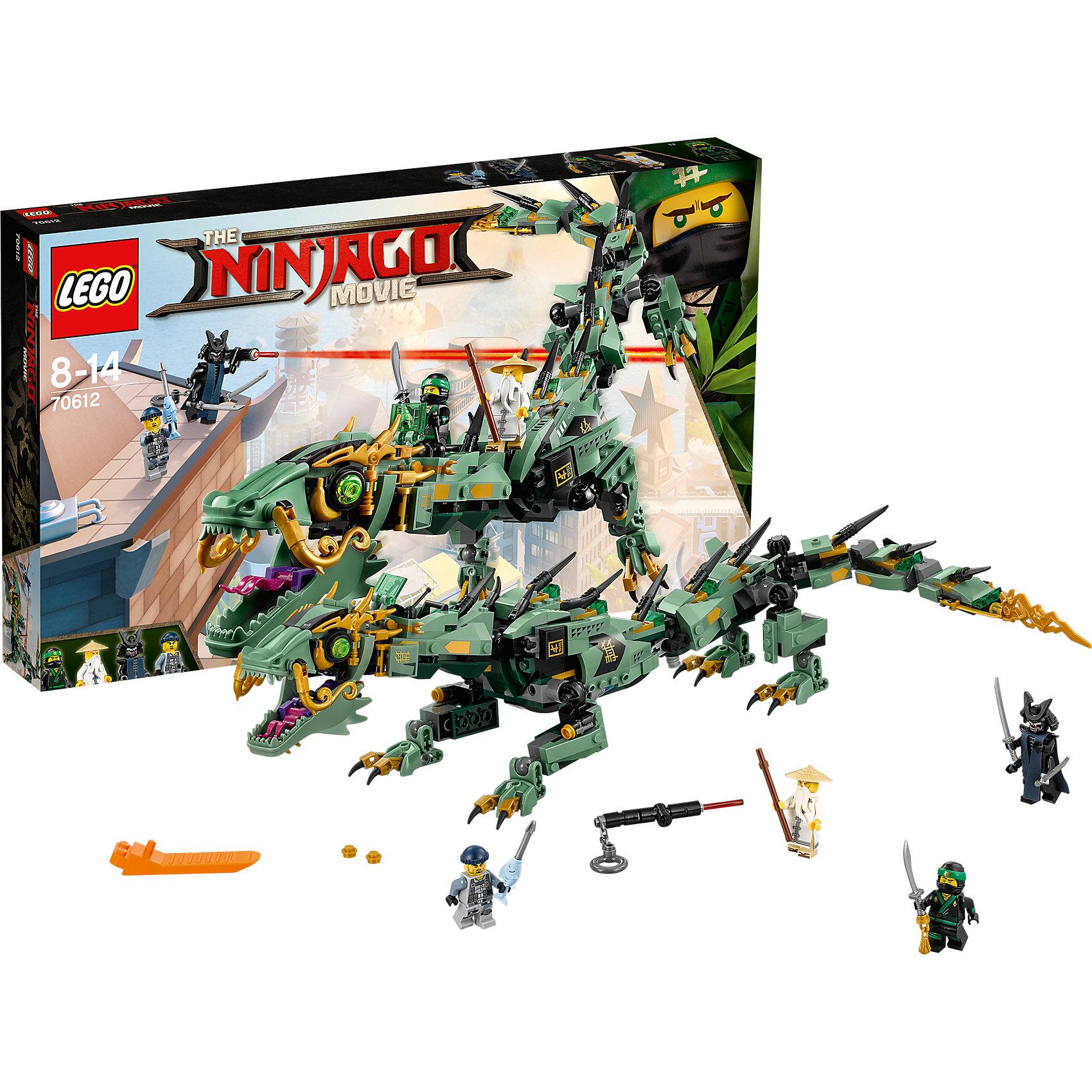 LEGO NINJAGO 70612: Механический Дракон Зелёного НиндзяПластмассовые конструкторы<br><br><br>Ширина мм: 482<br>Глубина мм: 284<br>Высота мм: 68<br>Вес г: 761<br>Возраст от месяцев: 96<br>Возраст до месяцев: 168<br>Пол: Мужской<br>Возраст: Детский<br>SKU: 5619999