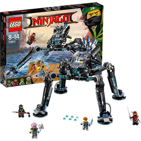 LEGO NINJAGO 70611: Водяной РоботПластмассовые конструкторы<br>Характеристики товара: <br><br>• возраст: от 8 лет;<br>• материал: пластик;<br>• в комплекте: 494 детали, 4 минифигурки;<br>• размер упаковки: 38,2х26,2х5,7 см;<br>• вес упаковки: 690 гр.;<br>• страна производитель: Чехия.<br><br>Конструктор Lego Ninjago «Водяной робот» создан по мотивам нового фильма «Лего-фильм: Ниндзяго», где отважным воинам ниндзя противостоит грозный Гармадон. Из элементов собирается водяной робот героини Нии, который умеет шагать по воде и забираться на отвесные скалы. Робот выглядит весьма устрашающе, у него 4 большие лапы, сверху кабина управления. Робот оснащен мощным оружием и стреляет снарядами.<br><br>Конструктор Lego Ninjago «Водяной робот» можно приобрести в нашем интернет-магазине.<br>Ширина мм: 383; Глубина мм: 261; Высота мм: 63; Вес г: 690; Возраст от месяцев: 96; Возраст до месяцев: 168; Пол: Мужской; Возраст: Детский; SKU: 5620000;