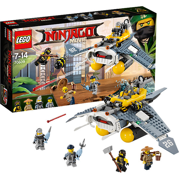 LEGO NINJAGO 70609: Бомбардировщик Морской дьяволПластмассовые конструкторы<br>Характеристики товара: <br><br>• возраст: от 7 лет;<br>• материал: пластик;<br>• в комплекте: 341 деталь, 4 минифигурки;<br>• размер упаковки: 35,4х19,1х7 см;<br>• вес упаковки: 545 гр.;<br>• страна производитель: Венгрия.<br><br>Конструктор Lego Ninjago «Бомбардировщик Морской дьявол» создан по мотивам нового фильма «Лего-фильм: Ниндзяго», где отважным воинам ниндзя противостоит грозный Гармадон. По сюжету акулья армия нападает на город. Отважные ниндзя должны противостоять им. Из деталей собирается самолет-бомбардировщик со специальными баками для посадки на воду. Самолет оснащен механизмом для сброса бомб, стреляет снарядами. Закрылки самолета подвижны.<br><br>Конструктор Lego Ninjago «Бомбардировщик Морской дьявол» можно приобрести в нашем интернет-магазине.<br>Ширина мм: 353; Глубина мм: 192; Высота мм: 76; Вес г: 544; Возраст от месяцев: 84; Возраст до месяцев: 168; Пол: Мужской; Возраст: Детский; SKU: 5620001;