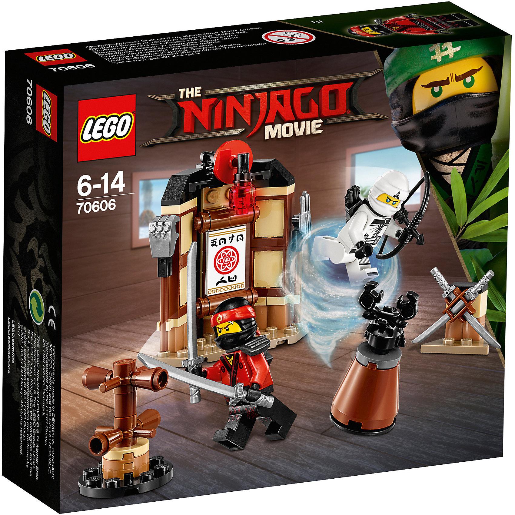 LEGO NINJAGO 70606: Уроки Мастерства КружитцуПластмассовые конструкторы<br>Характеристики товара: <br><br>• возраст: от 6 лет;<br>• материал: пластик;<br>• в комплекте: 109 деталей, 2 минифигурки;<br>• размер упаковки: 15,7х14,1х4,5 см;<br>• вес упаковки: 110 гр.;<br>• страна производитель: Чехия.<br><br>Конструктор Lego Ninjago «Уроки мастерства Кружитцу» создан по мотивам нового фильма «Лего-фильм: Ниндзяго», где отважным воинам ниндзя противостоит грозный Гармадон. Из деталей собирается тренировочная база ниндзя. На базе есть груша для отработки ударов ногами, манекен для отработки ударов руками, стойка с оружием.<br><br>Конструктор Lego Ninjago «Уроки мастерства Кружитцу» можно приобрести в нашем интернет-магазине.<br><br>Ширина мм: 161<br>Глубина мм: 142<br>Высота мм: 50<br>Вес г: 110<br>Возраст от месяцев: 72<br>Возраст до месяцев: 168<br>Пол: Мужской<br>Возраст: Детский<br>SKU: 5620004
