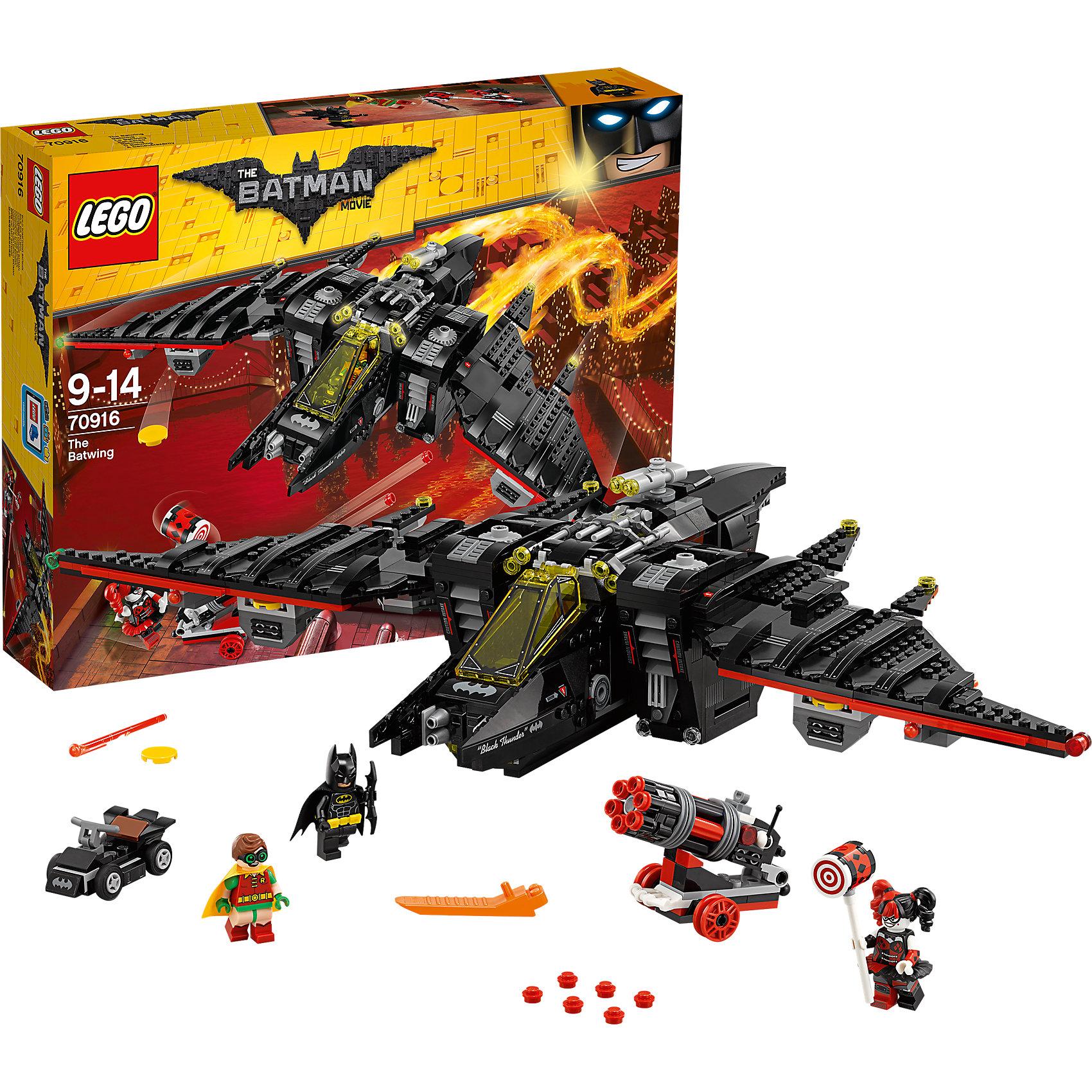 LEGO Batman Movie 70916: БэтмолётПластмассовые конструкторы<br><br><br>Ширина мм: 481<br>Глубина мм: 375<br>Высота мм: 101<br>Вес г: 1592<br>Возраст от месяцев: 108<br>Возраст до месяцев: 168<br>Пол: Мужской<br>Возраст: Детский<br>SKU: 5620006