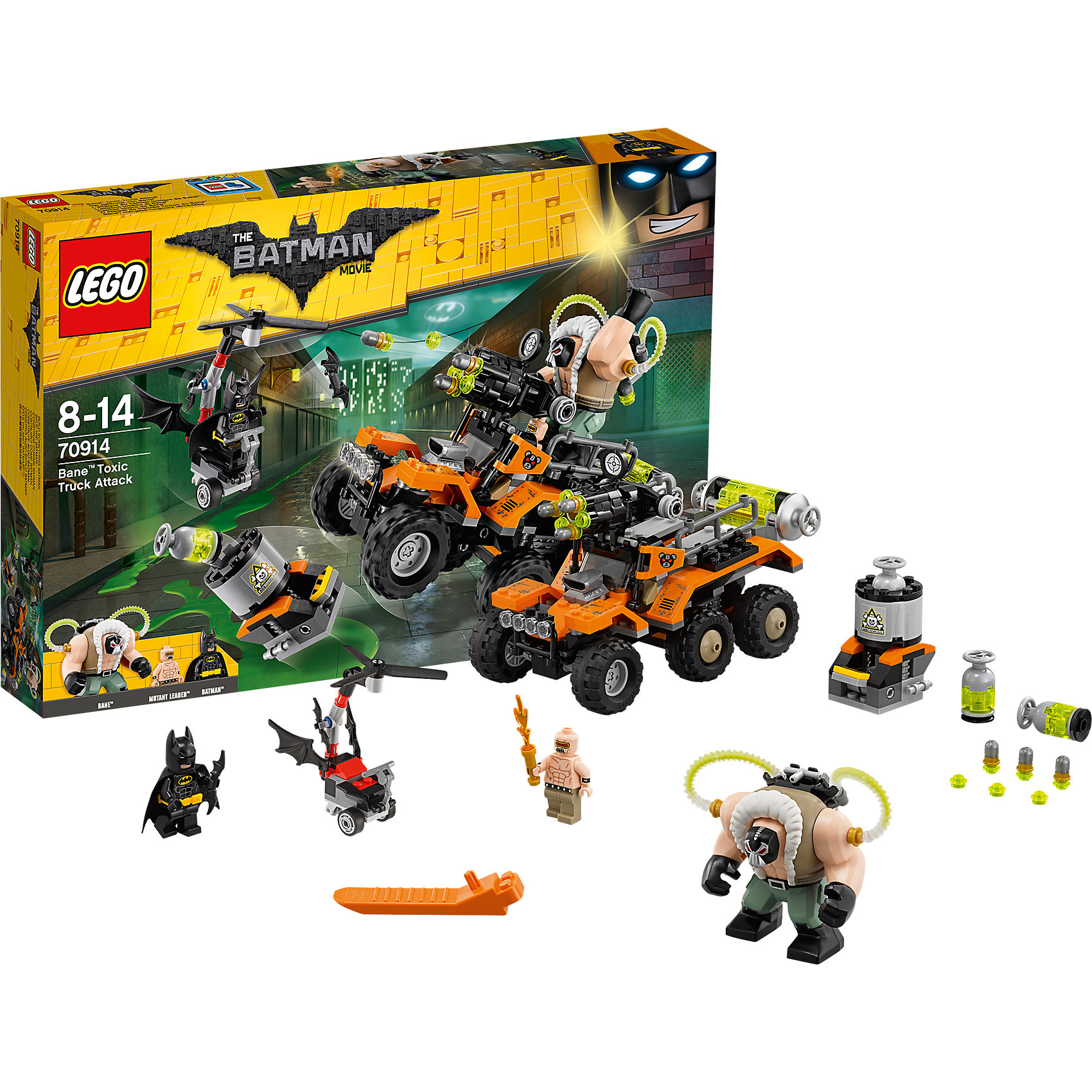 LEGO Batman Movie 70914: Химическая атака БэйнаКонструкторы Лего<br>Характеристики товара: <br><br>• возраст: от 8 лет;<br>• материал: пластик;<br>• в комплекте: 366 деталей, 3 минифигурки;<br>• размер упаковки: 38,2х26,2х5,7 см;<br>• вес упаковки: 585 гр.;<br>• страна производитель: Китай.<br><br>Конструктор Lego Batman Movie «Химическая атака Бейна» из серии Lego Batman, посвященной известному супергерою. Бейн — один из самых опасных противников. На своем вездеходе он везет химическое оружие, которое готовится распылить в городе. Бэтмен же должен помешать Бейну. У него есть свое транспортное средство, которое может перемещаться по земле и летать по воздуху. <br><br>Конструктор Lego Batman Movie «Химическая атака Бейна» можно приобрести в нашем интернет-магазине.<br><br>Ширина мм: 382<br>Глубина мм: 266<br>Высота мм: 63<br>Вес г: 585<br>Возраст от месяцев: 96<br>Возраст до месяцев: 168<br>Пол: Мужской<br>Возраст: Детский<br>SKU: 5620008