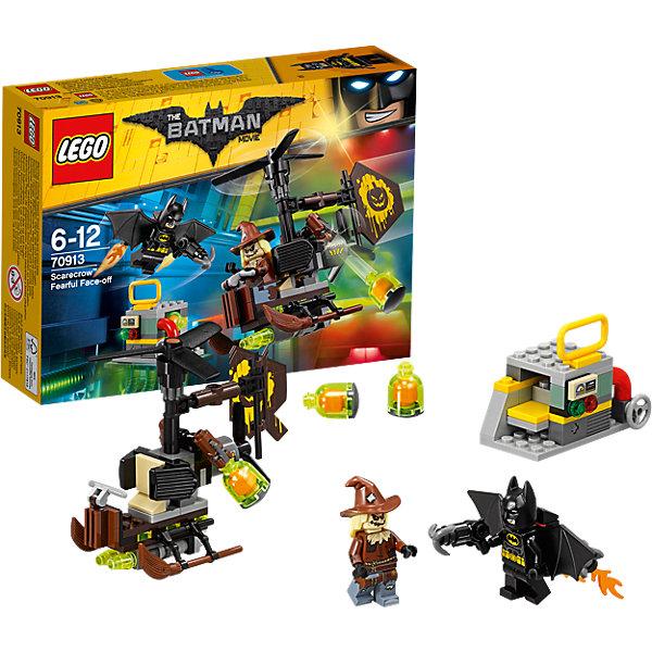LEGO Batman Movie 70913: Схватка с ПугаломПластмассовые конструкторы<br>Характеристики товара: <br><br>• возраст: от 6 лет;<br>• материал: пластик;<br>• в комплекте: 141 деталь, 2 минифигурки;<br>• размер упаковки: 19,1х14,1х4,6 см;<br>• вес упаковки: 165 гр.;<br>• страна производитель: Китай.<br><br>Конструктор Lego Batman Movie «Схватка с Пугалом» из серии Lego Batman, посвященной известному супергерою. Бэтмен вступает в битву с Пугалом. Из деталей собирается транспортное средство Пугала. Оно напоминает вертолет, но вместо полозьев у него метла, лопасти вращаются. Сзади развивается флаг злодея. Внизу расположено оружие для сброса бомб. <br><br>Конструктор Lego Batman Movie «Схватка с Пугалом» можно приобрести в нашем интернет-магазине.<br>Ширина мм: 193; Глубина мм: 142; Высота мм: 48; Вес г: 181; Возраст от месяцев: 72; Возраст до месяцев: 144; Пол: Мужской; Возраст: Детский; SKU: 5620009;