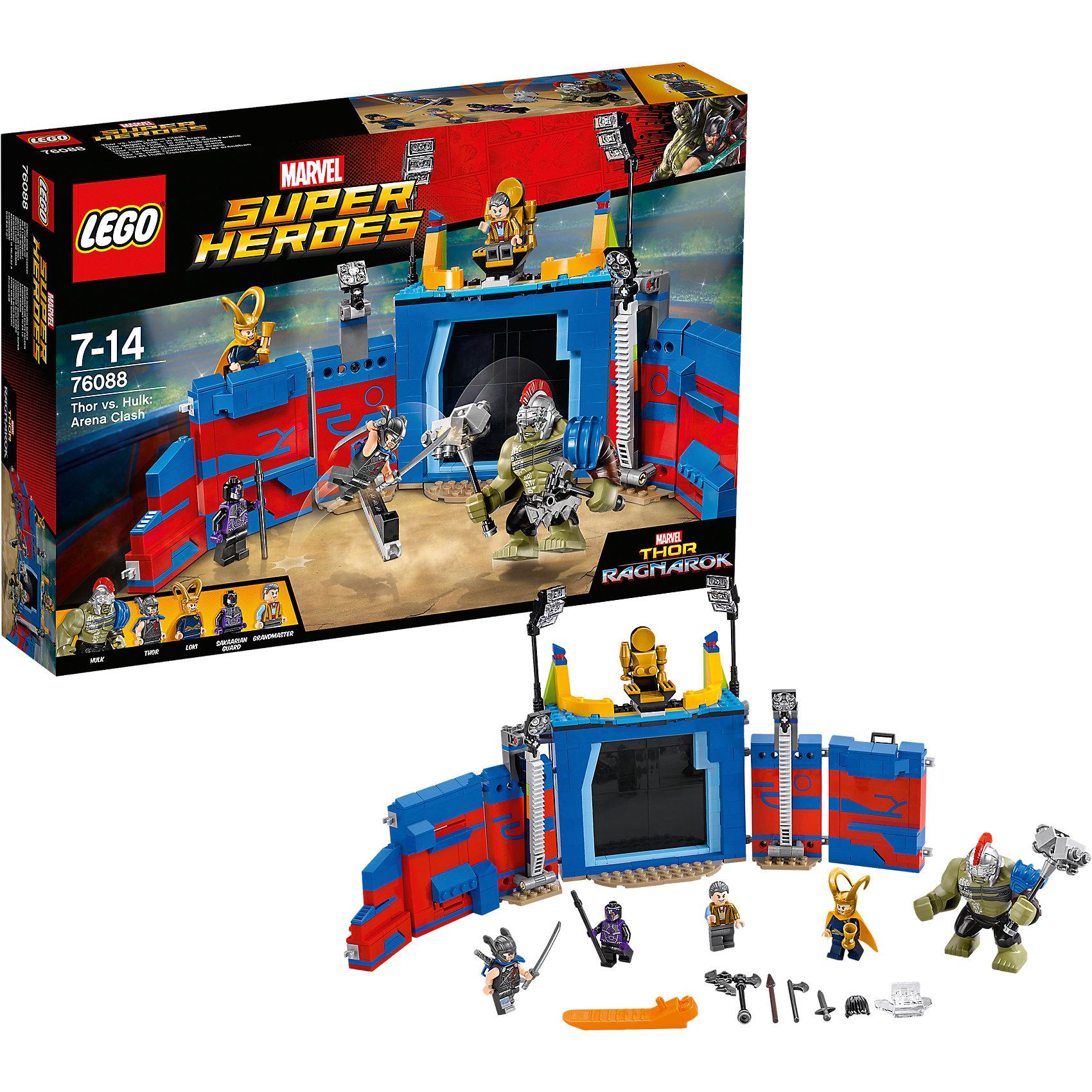 Конструктор Lego Super Heroes 76088: Тор против Халка: Бой на аренеПластмассовые конструкторы<br>Характеристики товара:<br><br>• возраст: от 7 лет;<br>• материал: пластик;<br>• в комплекте: 492 детали;<br>• количество минифигурок: 5;<br>• размер упаковки: 26,2х38,2х7,1 см;<br>• вес упаковки: 800 гр.;<br>• страна производитель: Китай.<br><br>Конструктор Lego Super Heroes «Тор против Халка: Бой на арене» создан по мотивам фильма «Тор: Рагнарёк». Он воспроизводит одну из самых известных сцен в фильме — бой Тора против Халка. Они вынуждены сражаться друг против друга из-за воздействия Гроссмейстера, который наблюдает за сражением на арене.<br><br>Из элементов конструктора предстоит собрать 5 фигурок персонажей и арену. Все детали выполнены из качественных безопасных материалов. В процессе сборки конструктора у детей развиваются мелкая моторика рук, усидчивость, логическое мышление.<br><br>Конструктор Lego Super Heroes «Тор против Халка: Бой на арене» можно приобрести в нашем интернет-магазине.<br><br>Ширина мм: 382<br>Глубина мм: 262<br>Высота мм: 71<br>Вес г: 780<br>Возраст от месяцев: 84<br>Возраст до месяцев: 2147483647<br>Пол: Мужской<br>Возраст: Детский<br>SKU: 5620010