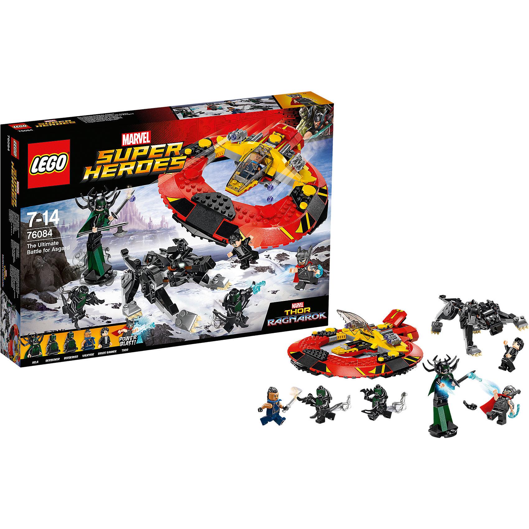Конструктор Lego Super Heroes 76084: Решающая битва за АсгардПластмассовые конструкторы<br>Характеристики товара:<br><br>• возраст: от 7 лет;<br>• материал: пластик;<br>• в комплекте: 400 деталей;<br>• количество минифигурок: 6;<br>• размер упаковки: 26,2х38,2х5,7 см;<br>• вес упаковки: 655 гр.;<br>• страна производитель: Китай.<br><br>Конструктор Lego Super Heroes «Решающая битва за Асгард» создан по мотивам фильма «Тор: Рагнарёк». В фильме на Асгард нападает злодейка Хела, с которой предстоит сразиться Тору. К нему на помощь прилетают на космическом корабле Халк и Валькирия. На стороне Хелы — могучий волк Фенрис.<br><br>Из элементов конструктора предстоит собрать 6 фигурок персонажей, фигурку волка и корабль. Все детали выполнены из качественных безопасных материалов. В процессе сборки конструктора у детей развиваются мелкая моторика рук, усидчивость, логическое мышление.<br><br>Конструктор Lego Super Heroes «Решающая битва за Асгард» можно приобрести в нашем интернет-магазине.<br><br>Ширина мм: 382<br>Глубина мм: 262<br>Высота мм: 57<br>Вес г: 660<br>Возраст от месяцев: 84<br>Возраст до месяцев: 2147483647<br>Пол: Мужской<br>Возраст: Детский<br>SKU: 5620011
