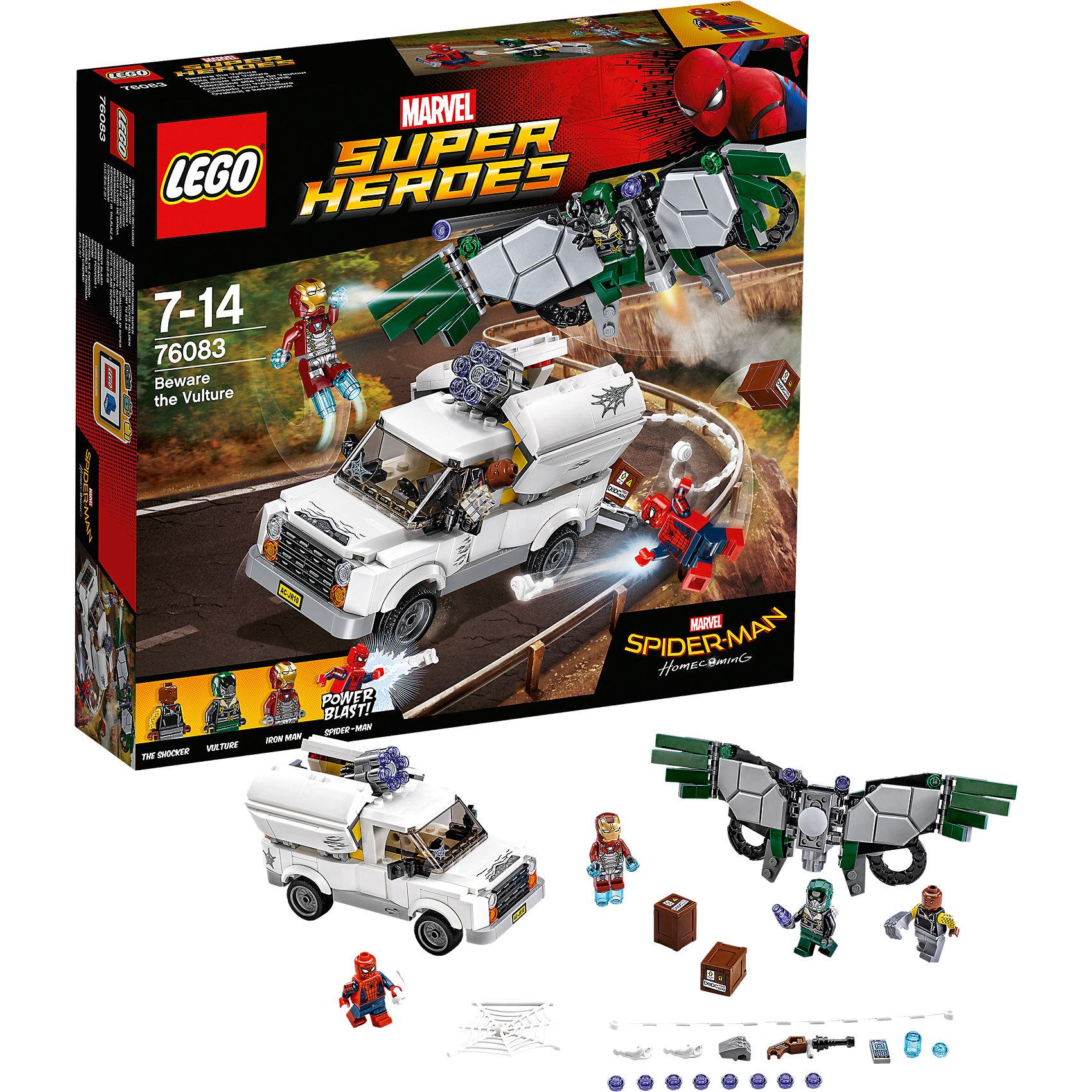 Конструктор Lego Super Heroes 76083: Берегись СтервятникаПластмассовые конструкторы<br>Характеристики товара:<br><br>• возраст: от 7 лет;<br>• материал: пластик;<br>• в комплекте: 375 деталей;<br>• количество минифигурок: 4;<br>• размер упаковки: 26,2х28,2х5,9 см;<br>• вес упаковки: 285 гр.;<br>• страна производитель: Китай.<br><br>Конструктор Lego Super Heroes «Берегись Стервятника» создан по мотивам фильма «Человек-Паук: Возвращение домой». В фильме герою Человека Паука противостоит могущественный Стервятник. Вместе с Железным человеком они вступают в бой против противника. Сообщник Стервятника Шокер сражается на фургоне с пушкой. У самого Стервятника крылья, стреляющие шипами.<br><br>Из элементов конструктора предстоит собрать 4 фигурки персонажей, фургон и костюм Стервятника. Все детали выполнены из качественных безопасных материалов. В процессе сборки конструктора у детей развиваются мелкая моторика рук, усидчивость, логическое мышление.<br><br>Конструктор Lego Super Heroes «Берегись Стервятника» можно приобрести в нашем интернет-магазине.<br><br>Ширина мм: 263<br>Глубина мм: 286<br>Высота мм: 63<br>Вес г: 538<br>Возраст от месяцев: 84<br>Возраст до месяцев: 2147483647<br>Пол: Мужской<br>Возраст: Детский<br>SKU: 5620012