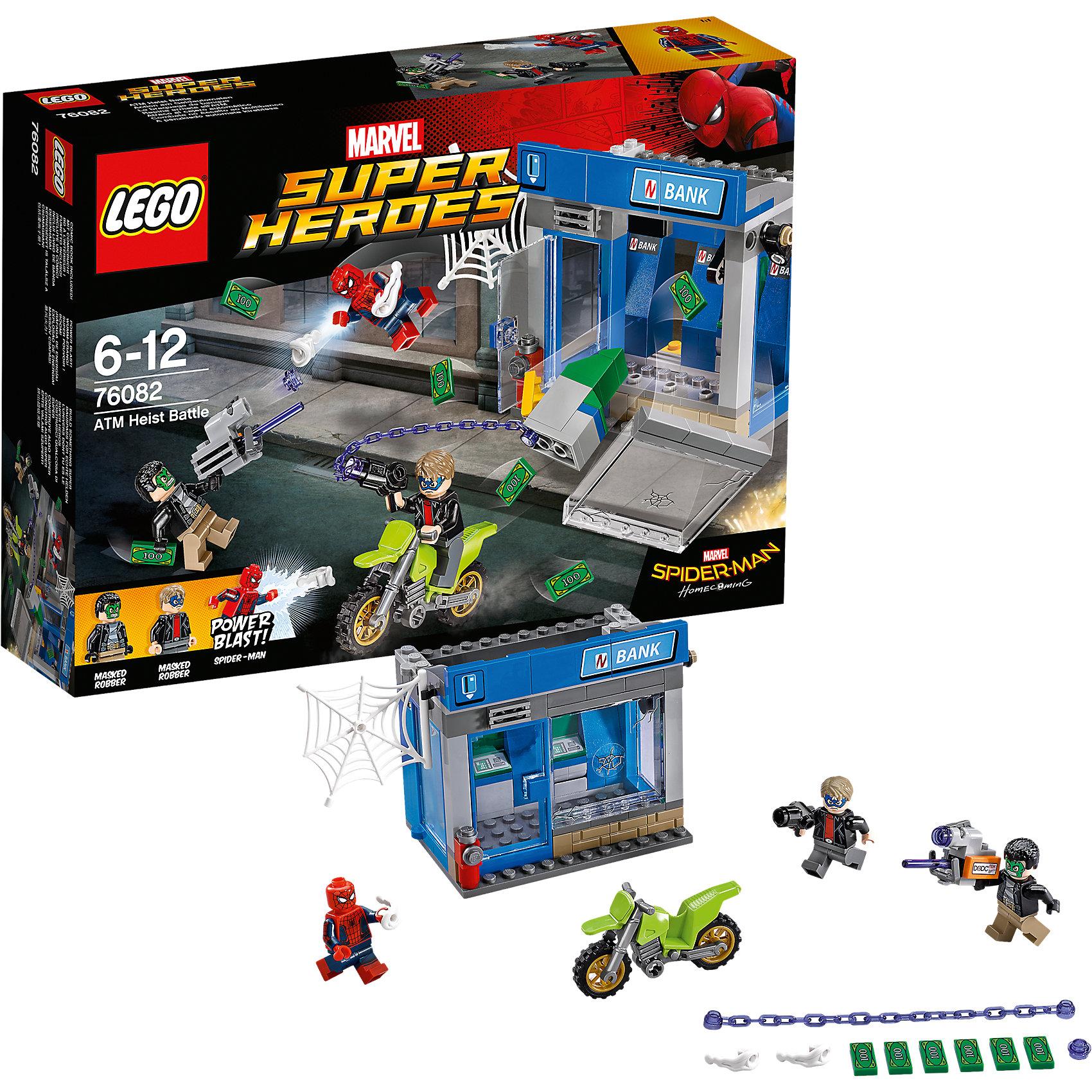 Конструктор Lego Super Heroes 76082: Ограбление банкоматаПластмассовые конструкторы<br>Характеристики товара:<br><br>• возраст: от 6 лет;<br>• материал: пластик;<br>• в комплекте: 185 деталей;<br>• количество минифигурок: 3;<br>• размер упаковки: 26,2х19,1х6,1 см;<br>• вес упаковки: 350 гр.;<br>• страна производитель: Китай.<br><br>Конструктор Lego Super Heroes «Ограбление банкомата» создан по мотивам фильма «Человек-Паук: Возвращение домой». Грабители под масками Халка и Капитана Америки хотят ограбить банкомат, а Человек-Паук спешит им в этом помешать. <br><br>Из элементов конструктора предстоит собрать 3 фигурки персонажей, банк и мотоцикл. Все детали выполнены из качественных безопасных материалов. В процессе сборки конструктора у детей развиваются мелкая моторика рук, усидчивость, логическое мышление.<br><br>Конструктор Lego Super Heroes «Ограбление банкомата» можно приобрести в нашем интернет-магазине.<br><br>Ширина мм: 264<br>Глубина мм: 192<br>Высота мм: 66<br>Вес г: 350<br>Возраст от месяцев: 72<br>Возраст до месяцев: 2147483647<br>Пол: Мужской<br>Возраст: Детский<br>SKU: 5620013