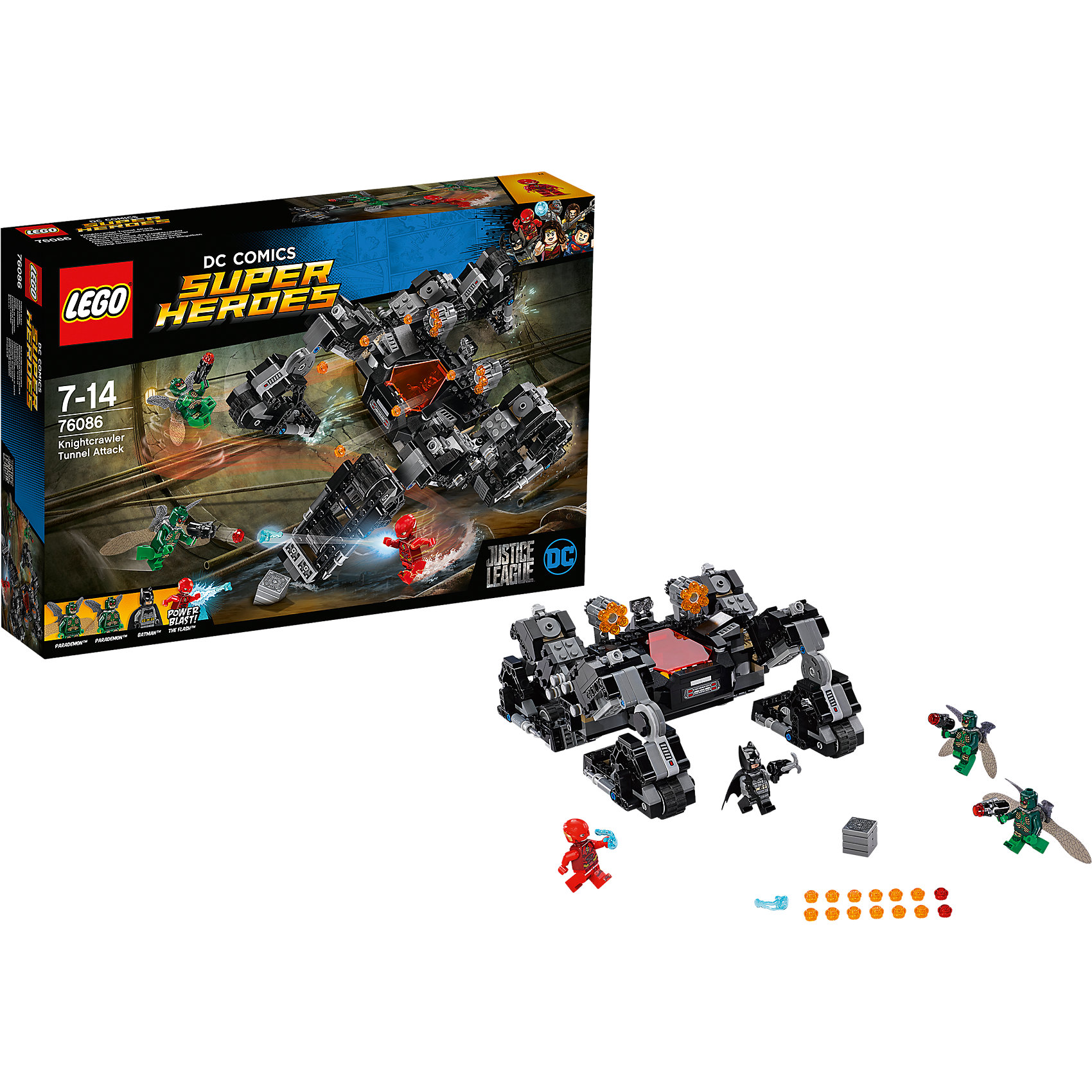 LEGO Super Heroes 76086: Сражение в туннелеПластмассовые конструкторы<br><br><br>Ширина мм: 384<br>Глубина мм: 263<br>Высота мм: 76<br>Вес г: 788<br>Возраст от месяцев: 84<br>Возраст до месяцев: 168<br>Пол: Мужской<br>Возраст: Детский<br>SKU: 5620015