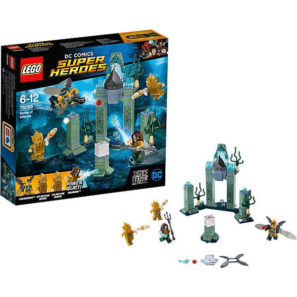 LEGO Super Heroes 76085: Битва за АтлантидуПластмассовые конструкторы<br>Характеристики товара: <br><br>• возраст: от 6 лет;<br>• материал: пластик;<br>• в комплекте: 197 деталей, 4 минифигурки;<br>• размер упаковки:20,5х19,1х4,6 см;<br>• вес упаковки: 265 гр.;<br>• страна производитель: Чехия.<br><br>Конструктор Lego Super Heroes «Битва за Атлантиду» посвящен новому фильму по комиксам DC Comics «Лига справедливости», где соберутся 5 известных супергероев. Из деталей собирается затерянный город. Главный противник Парадемон пытается захватить таинственный ящик, а Аквамен должен противостоять ему.<br><br>Конструктор Lego Super Heroes «Битва за Атлантиду» можно приобрести в нашем интернет-магазине.<br>Ширина мм: 207; Глубина мм: 192; Высота мм: 48; Вес г: 263; Возраст от месяцев: 72; Возраст до месяцев: 144; Пол: Мужской; Возраст: Детский; SKU: 5620016;