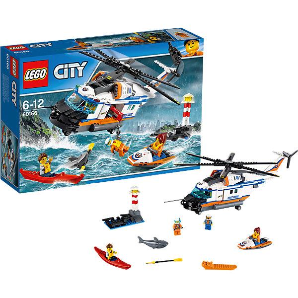 LEGO City 60166: Сверхмощный спасательный вертолётПластмассовые конструкторы<br>Характеристики товара: <br><br>• возраст: от 6 лет;<br>• материал: пластик;<br>• в комплекте: 415 деталей, 4 минифигурки;<br>• размер упаковки: 38,2х26,2х9,4 см;<br>• вес упаковки: 1,01 кг;<br>• страна производитель: Венгрия.<br><br>Конструктор Lego City «Сверхмощный спасательный вертолет» из серии Лего Сити Береговая охрана. Спортсмен-каякер перевернулся, потерял лодку и ждет спасателей на берегу у маяка. Спасателям предстоит спасти спортсмена. Из деталей собирается большой вертолет с вращающимися лопастями. Дверь грузового отсека вертолета открывается, из него можно спустить трос для спасения спортсмена.<br><br>Конструктор Lego City «Сверхмощный спасательный вертолет» можно приобрести в нашем интернет-магазине.<br><br>Ширина мм: 385<br>Глубина мм: 263<br>Высота мм: 101<br>Вес г: 1002<br>Возраст от месяцев: 72<br>Возраст до месяцев: 144<br>Пол: Мужской<br>Возраст: Детский<br>SKU: 5620020