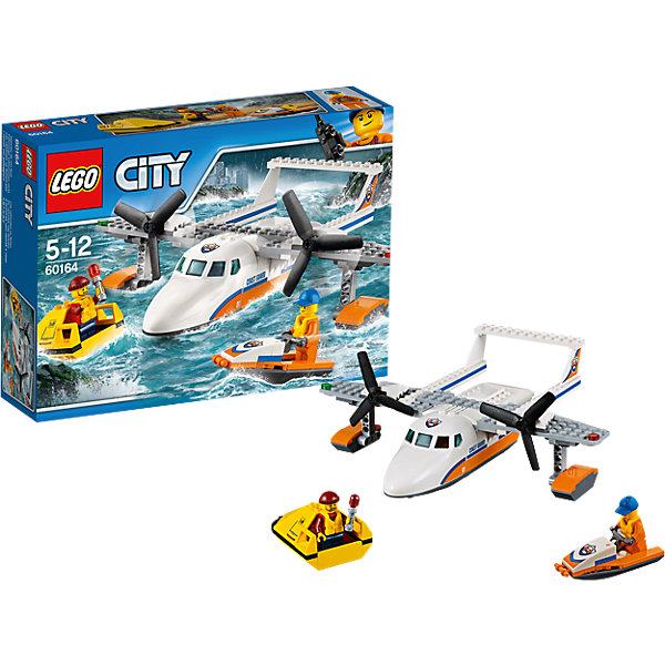 LEGO City 60164: Спасательный самолет береговой охраныПластмассовые конструкторы<br>Характеристики товара: <br><br>• возраст: от 5 лет;<br>• материал: пластик;<br>• в комплекте: 141 деталь, 2 минифигурки;<br>• размер упаковки: 26,2х19,1х6,1 см;<br>• вес упаковки: 130 гр.;<br>• страна производитель: Венгрия.<br><br>Конструктор Lego City «Спасательный самолет береговой охраны» из серии Лего Сити Береговая охрана. Из деталей собирается большой самолет для спасения. Самолет оснащен полозьями для приземления на воду. У него вращаются винты. Грузовой отсек открывается, туда можно поместить гидроцикл.<br><br>Конструктор Lego City «Спасательный самолет береговой охраны» можно приобрести в нашем интернет-магазине.<br><br>Ширина мм: 263<br>Глубина мм: 192<br>Высота мм: 66<br>Вес г: 381<br>Возраст от месяцев: 60<br>Возраст до месяцев: 144<br>Пол: Мужской<br>Возраст: Детский<br>SKU: 5620022
