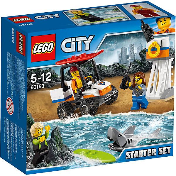 LEGO City 60163: Набор для начинающих «Береговая охрана»Пластмассовые конструкторы<br>Характеристики товара: <br><br>• возраст: от 5 лет;<br>• материал: пластик;<br>• в комплекте: 76 деталей, 3 минифигурки;<br>• размер упаковки: 15,7х14,1х6,1 см;<br>• вес упаковки: 260 гр.;<br>• страна производитель: Чехия.<br><br>Конструктор Lego City «Набор для начинающих Береговая охрана» из серии Лего Сити Береговая охрана. Из деталей собираются вышка для наблюдения за пловцами и багги для перемещения по пляжу. В кабину машины можно посадить фигурку. Колеса машины вращаются.<br><br>Конструктор Lego City «Набор для начинающих Береговая охрана» можно приобрести в нашем интернет-магазине.<br>Ширина мм: 160; Глубина мм: 144; Высота мм: 63; Вес г: 142; Возраст от месяцев: 60; Возраст до месяцев: 144; Пол: Мужской; Возраст: Детский; SKU: 5620023;