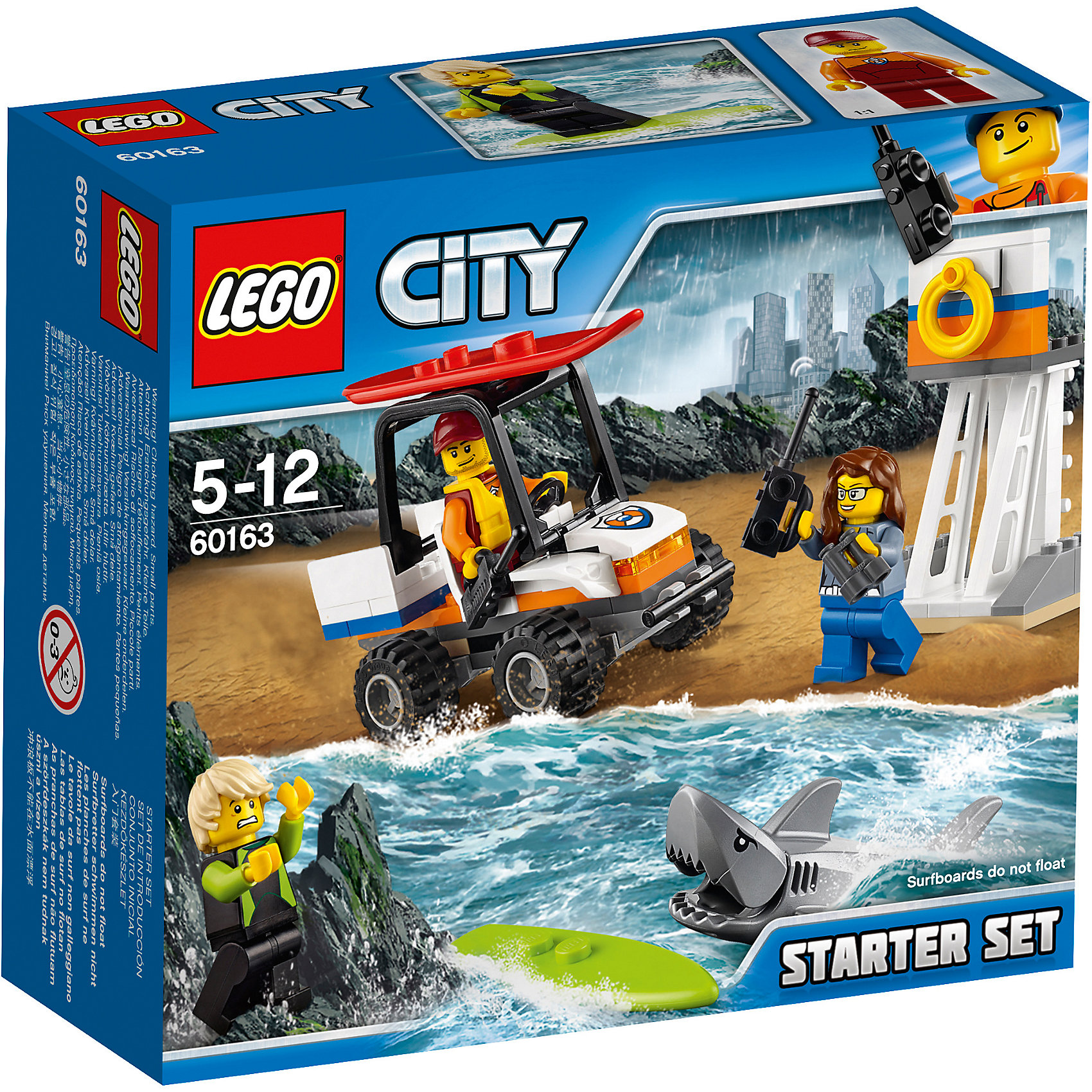 LEGO City 60163: Набор для начинающих «Береговая охрана»Пластмассовые конструкторы<br><br><br>Ширина мм: 160<br>Глубина мм: 144<br>Высота мм: 63<br>Вес г: 142<br>Возраст от месяцев: 60<br>Возраст до месяцев: 144<br>Пол: Мужской<br>Возраст: Детский<br>SKU: 5620023