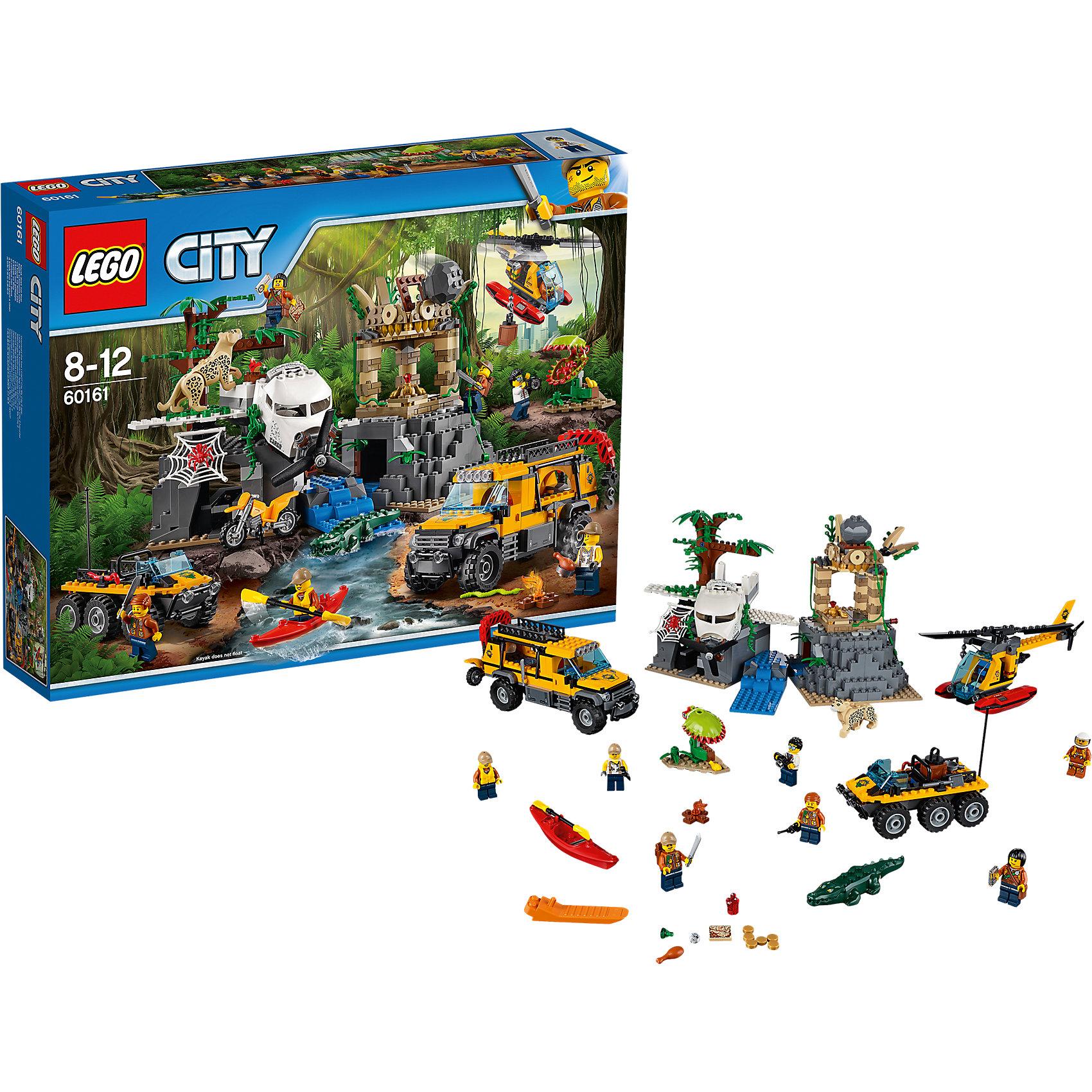 LEGO City 60161: База исследователей джунглейПластмассовые конструкторы<br>Характеристики товара: <br><br>• возраст: от 8 лет;<br>• материал: пластик;<br>• в комплекте: 813 деталей, 8 минифигурок;<br>• размер упаковки: 48х37,8х9,4 см;<br>• вес упаковки: 1,81 кг;<br>• страна производитель: Венгрия.<br><br>Конструктор Lego City «База исследователей джунглей» из серии Лего Сити, посвященной изучению джунглей. Из деталей собираются 2 машины, вертолет, храм и дерево с заброшенным самолетом. Отправляются исследователи на поиски ящика с сокровищами, который спрятан в кабине заброшенного самолета. У них есть вертолет с вращающимися лопастями и лебедкой с крюком для перемещения грузов. На большом вездеходе перевозятся необходимые инструменты. Второе транспортное средство — грузовик с вращающимися колесами, подвижным крюком и открывающейся крышей.<br><br>Самолет находится на тропическом дереве, рядом с которым живет опасный ягуар. Кабина самолета опускается и поднимается. Через речку находится заброшенный храм, забраться на который можно по лианам. Но только там ждет опасность в виде падающего камня. Под камнем люк, через который можно проникнуть внутрь храма. <br><br>Конструктор Lego City «База исследователей джунглей» можно приобрести в нашем интернет-магазине.<br><br>Ширина мм: 481<br>Глубина мм: 375<br>Высота мм: 96<br>Вес г: 1822<br>Возраст от месяцев: 96<br>Возраст до месяцев: 144<br>Пол: Мужской<br>Возраст: Детский<br>SKU: 5620024