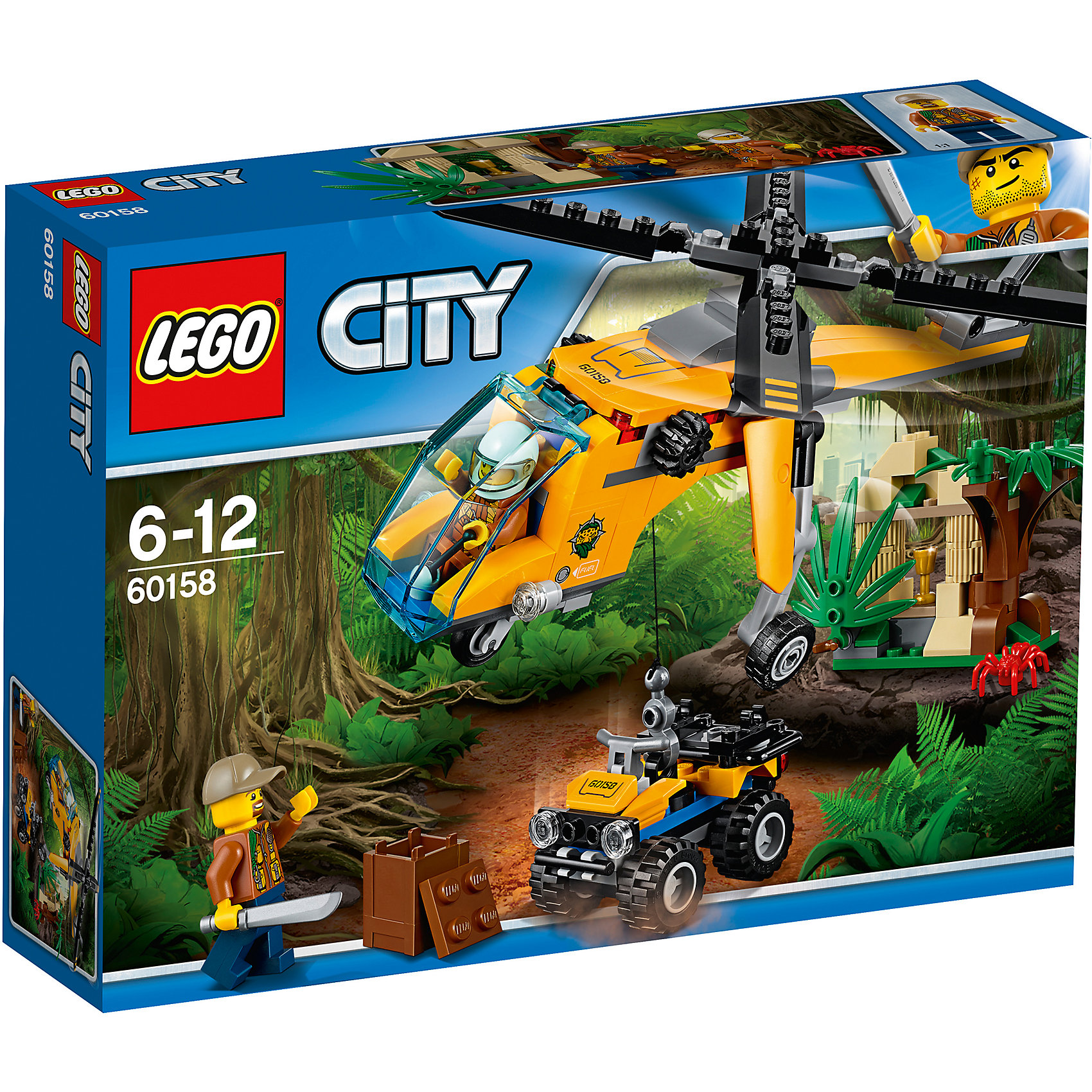 LEGO City 60158: Грузовой вертолёт исследователей джунглейПластмассовые конструкторы<br><br><br>Ширина мм: 264<br>Глубина мм: 195<br>Высота мм: 66<br>Вес г: 332<br>Возраст от месяцев: 72<br>Возраст до месяцев: 144<br>Пол: Мужской<br>Возраст: Детский<br>SKU: 5620026