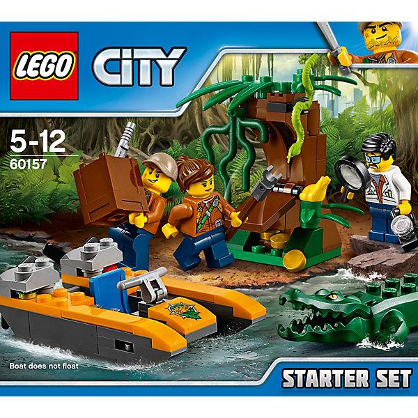 LEGO City 60157: Набор «Джунгли» для начинающихКонструкторы Лего<br>Характеристики товара: <br><br>• возраст: от 5 лет;<br>• материал: пластик;<br>• в комплекте: 88 деталей, 3 минифигурки;<br>• размер упаковки: 15,7х14,1х6,1 см;<br>• вес упаковки: 140 гр.;<br>• страна производитель: Чехия.<br><br>Конструктор Lego City «Набор Джунгли для начинающих» из серии Лего Сити, посвященной изучению джунглей. Трое исследователей отправляются в джунгли на поиски клада с золотом. В их распоряжении лодка-катамаран. У лодки подвижный руль и вращающиеся лопасти. Сзади расположен отсек, куда можно положить инструменты. Но на пути их поджидает опасный крокодил с открывающейся пастью, а у тайника с золотом спряталась змея.<br><br>Конструктор Lego City «Набор Джунгли для начинающих» можно приобрести в нашем интернет-магазине.<br>Ширина мм: 159; Глубина мм: 142; Высота мм: 63; Вес г: 142; Возраст от месяцев: 60; Возраст до месяцев: 144; Пол: Мужской; Возраст: Детский; SKU: 5620027;