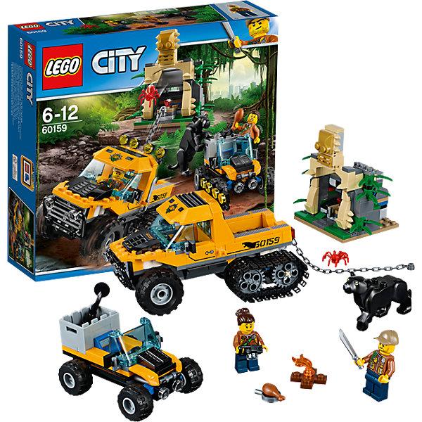 LEGO City 60159: Миссия Исследование джунглейПластмассовые конструкторы<br>Характеристики товара: <br><br>• возраст: от 6 лет;<br>• материал: пластик;<br>• в комплекте: 378 деталей, 2 минифигурки;<br>• размер упаковки: 26,2х28,2х7 см;<br>• вес упаковки: 575 гр.;<br>• страна производитель: Чехия.<br><br>Конструктор Lego City «Миссия Исследование джунглей» из серии Лего Сити, посвященной изучению джунглей. Из деталей собираются 2 транспортных средства исследователей. Самое большое — грузовик. Спереди у него вращающиеся колеса, а сзади гусеницы. На задний бампер крепится цепь, при помощи которой исследователи будут выдергивать тайник с сокровищами из грота. Вторая машина - небольшой джип для перемещений по джунглям с вращающимися колесами и ящиком для инструментов. Сокровища спрятаны в гроте, но рядом с ним живет опасная пантера.<br><br>Конструктор Lego City «Миссия Исследование джунглей» можно приобрести в нашем интернет-магазине.<br><br>Ширина мм: 285<br>Глубина мм: 263<br>Высота мм: 81<br>Вес г: 569<br>Возраст от месяцев: 72<br>Возраст до месяцев: 144<br>Пол: Мужской<br>Возраст: Детский<br>SKU: 5620029