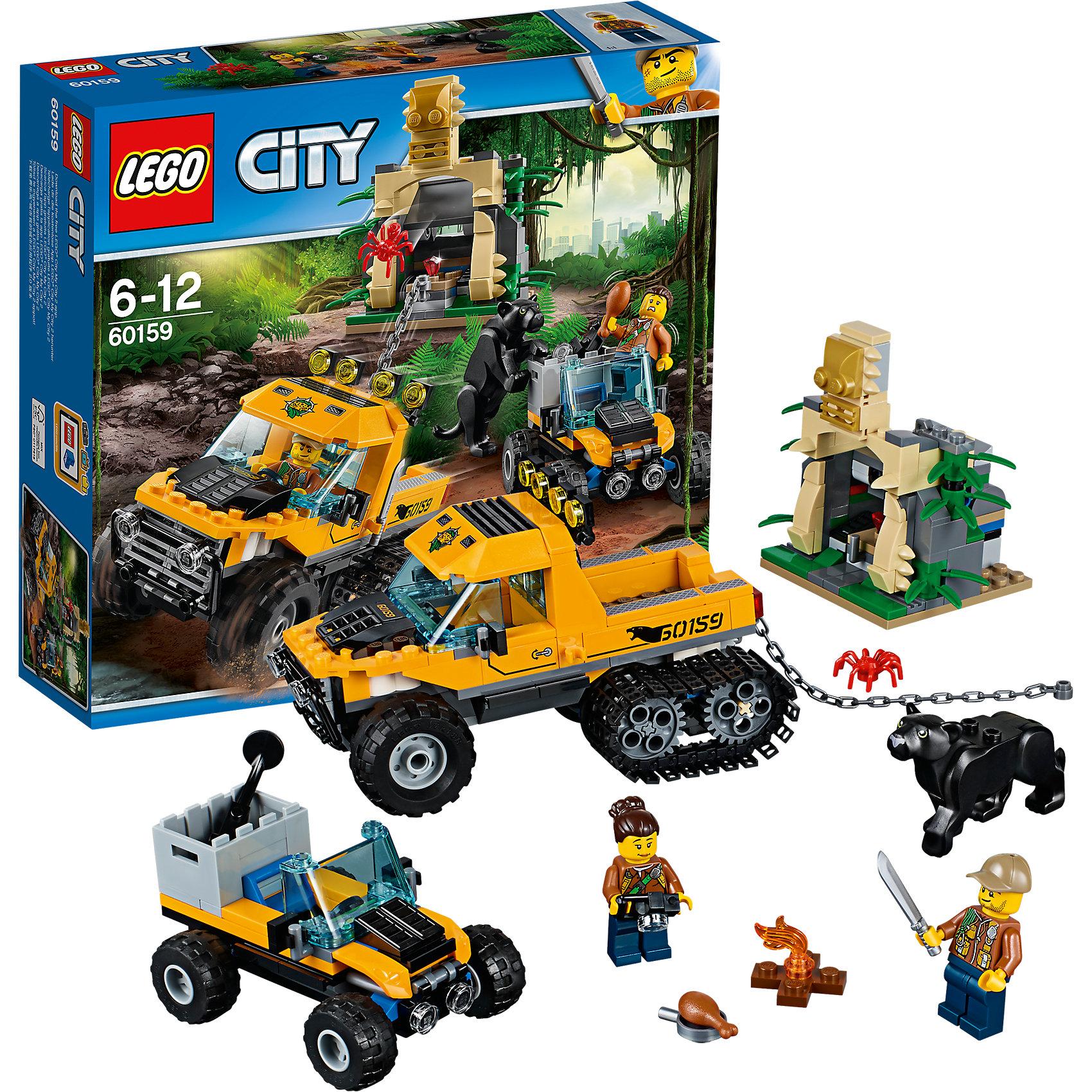 LEGO City 60159: Миссия Исследование джунглейПластмассовые конструкторы<br><br><br>Ширина мм: 285<br>Глубина мм: 263<br>Высота мм: 81<br>Вес г: 569<br>Возраст от месяцев: 72<br>Возраст до месяцев: 144<br>Пол: Мужской<br>Возраст: Детский<br>SKU: 5620029