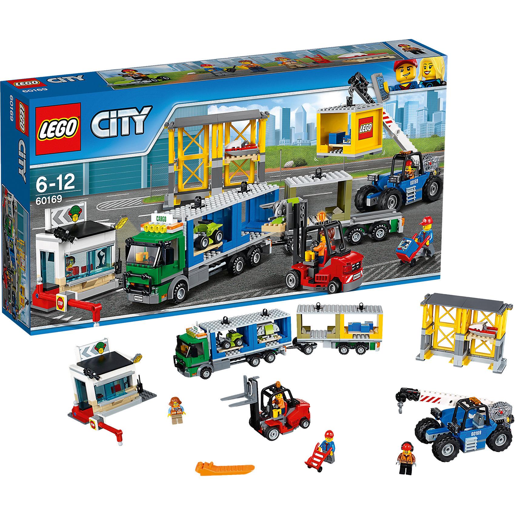 LEGO City 60169: Грузовой терминалПластмассовые конструкторы<br><br><br>Ширина мм: 539<br>Глубина мм: 281<br>Высота мм: 96<br>Вес г: 1406<br>Возраст от месяцев: 72<br>Возраст до месяцев: 144<br>Пол: Мужской<br>Возраст: Детский<br>SKU: 5620030