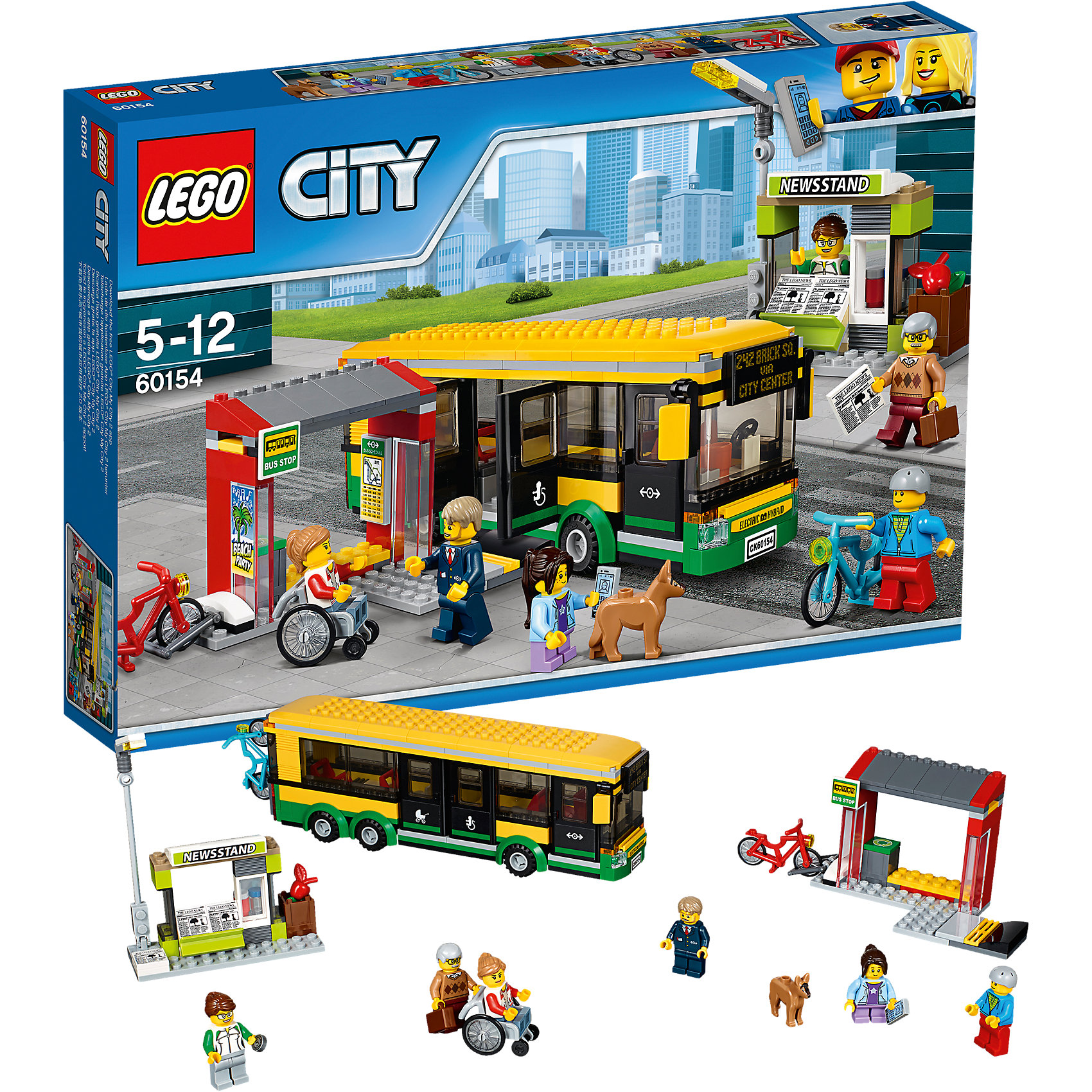 LEGO City 60154: Автобусная остановкаПластмассовые конструкторы<br>Характеристики товара: <br><br>• возраст: от 5 лет;<br>• материал: пластик;<br>• в комплекте: 337 деталей, 6 минифигурок, фигурка собачки;<br>• размер упаковки: 26,2х38,2х5,7 см;<br>• вес упаковки: 660 гр.;<br>• страна производитель: Чехия.<br><br>Конструктор Lego City «Автобусная остановка» позволит собрать остановку, автобус и газетный киоск. Колеса автобуса вращаются, двери открываются, внутри несколько посадочных мест. Сбоку от остановки расположена парковка для велосипедов. Внутри самой остановки — расписание автобусов.<br><br>Конструктор Lego City «Автобусная остановка» можно приобрести в нашем интернет-магазине.<br><br>Ширина мм: 384<br>Глубина мм: 261<br>Высота мм: 63<br>Вес г: 659<br>Возраст от месяцев: 60<br>Возраст до месяцев: 144<br>Пол: Мужской<br>Возраст: Детский<br>SKU: 5620031